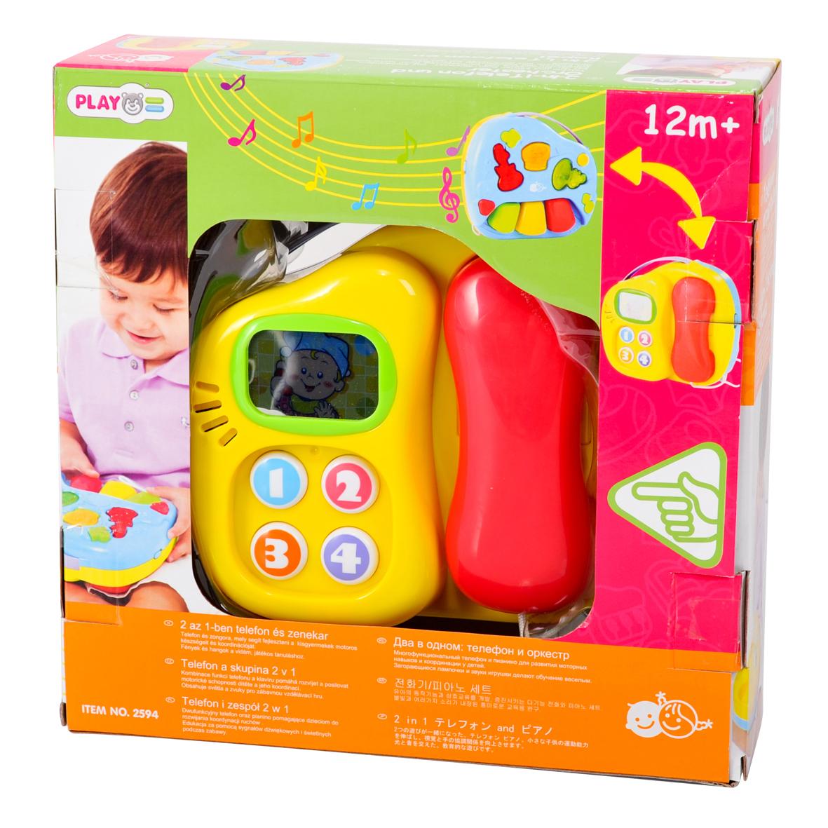 Playgo Игровой развивающий центр Телефон и оркестрPlay 2594Игровой центр «Телефон и оркестр» понравится не только детям, но и их родителям. На игровом центре есть две стороны: пианино и телефон, и на оба со световыми и звуковыми эффектами. С одной стороны центр имеет телефон со съёмной трубкой (прикреплена к центру шнурком) и четыре кнопки для набора номера. Во время нажатия на кнопки они пищат, а телефон будет звонить, как настоящий. Со второй стороны находится оркестр, который состоит из трёх музыкальных инструментов – рояля, гитары и барабана и трех клавиш. Если нажать на клавишу инструмента, то вы услышите звучание этого инструмента. Для удобства переноски предусмотрена прочная пластмассовая ручка.