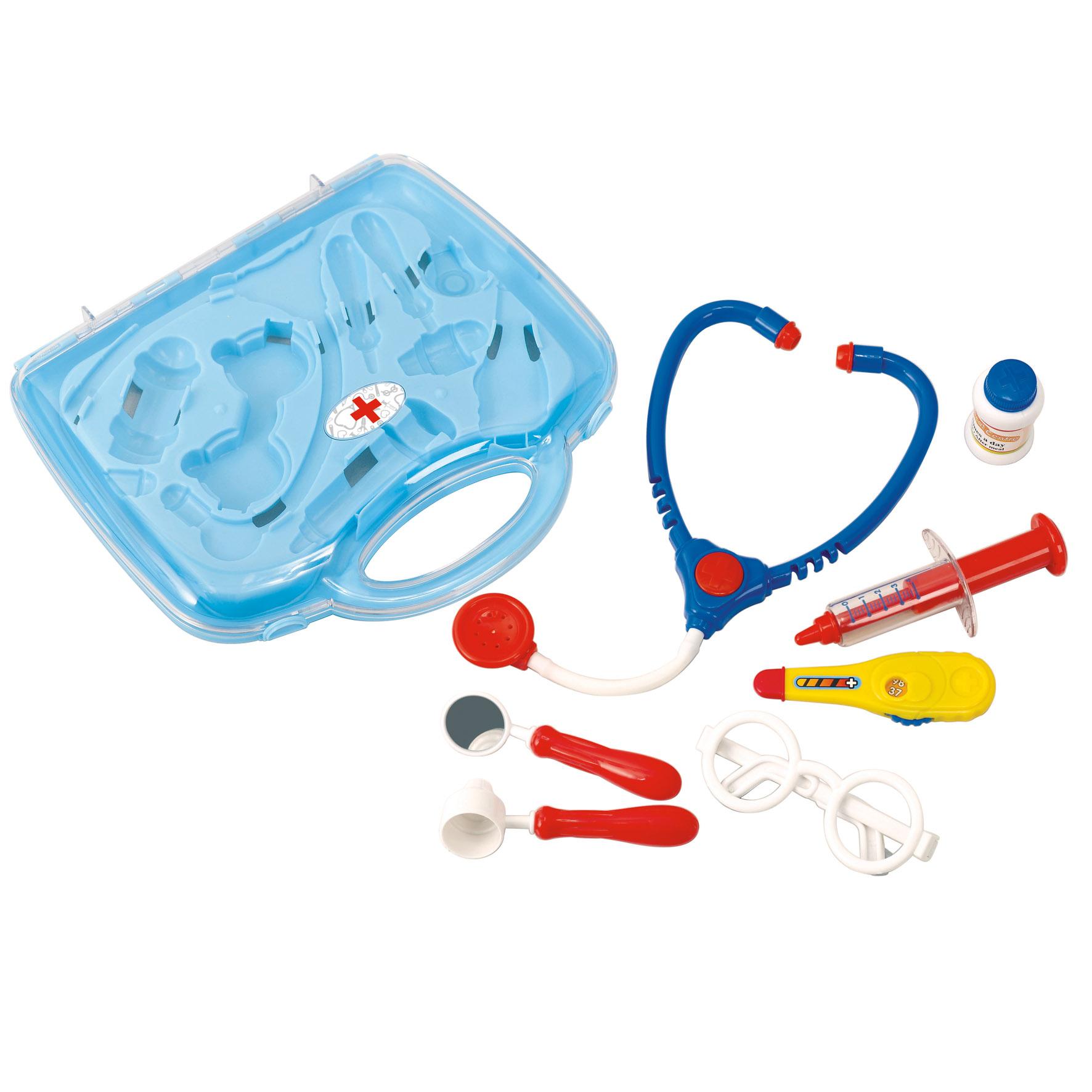 Playgo Развивающая игрушка - Набор доктора в чемоданчикеPlay 2902В этом наборе есть все самое необходимое: стетоскоп, градусник, шприц, очки, зеркальце и другие аксессуары. Сюжетно-ролевая игра в больницу очень полезна для общего развития ребенка и расширения его кругозора. Все составляющие набора изготовлены из качественного, безопасного для детского здоровья пластика.
