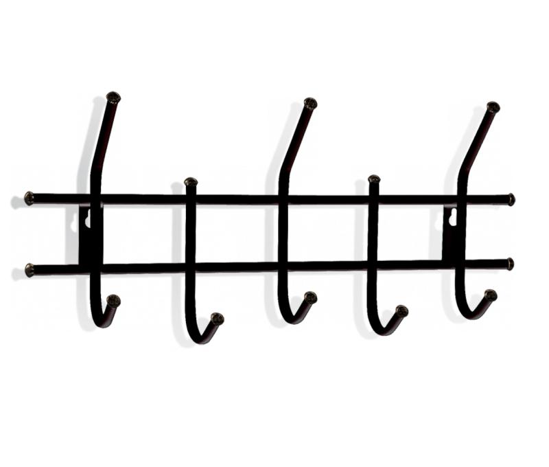 Вешалка настенная Sheffilton Стандарт 2/5, цвет: черный, 5 крючковВ2-5-5Настенная вешалка Sheffilton Стандарт 2/5, изготовленная из металла, - это стильное решение для дома и офиса в экономии пространства. Вешалка имеет 5 парных крючков, на которые вы сможете повесить одежду, сумку или шарфы. На крючках имеются декоративные пластиковые наконечники. Вешалка покрыта порошковой окраской, стойкой к механическим повреждениям. Крепится к стене при помощи двух шурупов (не входят в комплект). Максимальная нагрузка на крючок: 5 кг.