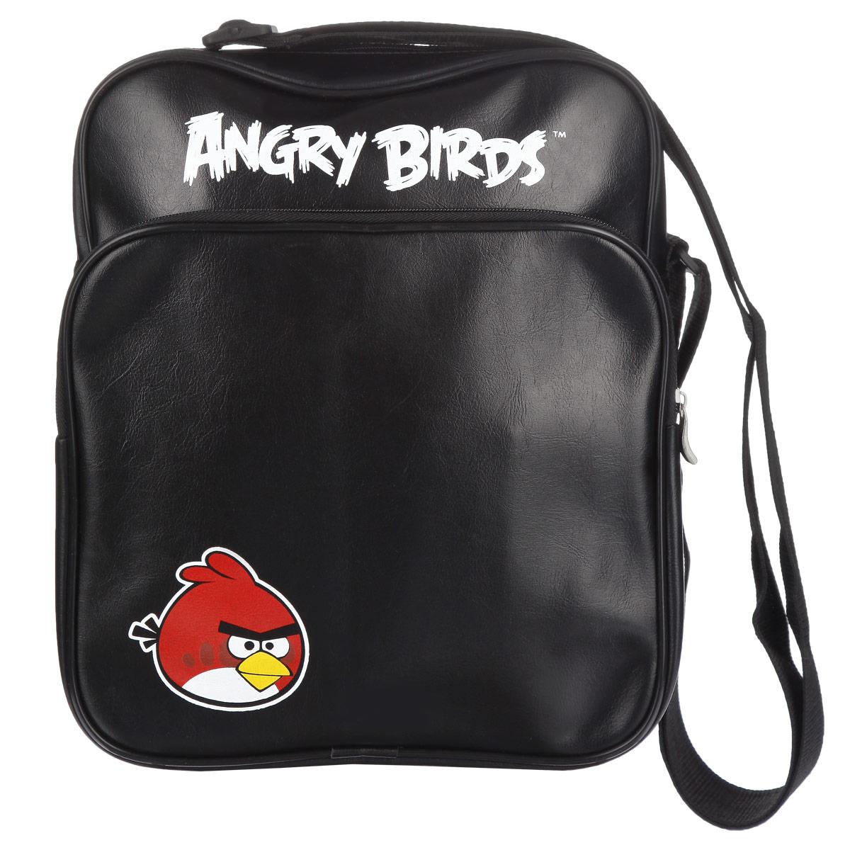 Сумка Angry Birds Красная птица, цвет: черный. 8481284812Сумка молодёжная Angry Birds Красная птица сочетает в себе современный дизайн, функциональность и долговечность. Сумка выполнена из кожзаменителя и содержит одно вместительное отделение, застегивающееся на застежку-молнию. Внутри имеется дополнительный карман-разделитель на молнии. На лицевой стороне сумки находятся карман на застежке-молнии. Внутри имеется нашивной карман и фиксаторы для пишущих принадлежностей. На задней стороне сумка имеет дополнительный карман на молнии. Сумка оснащена плечевым ремнем, регулируемой длины.
