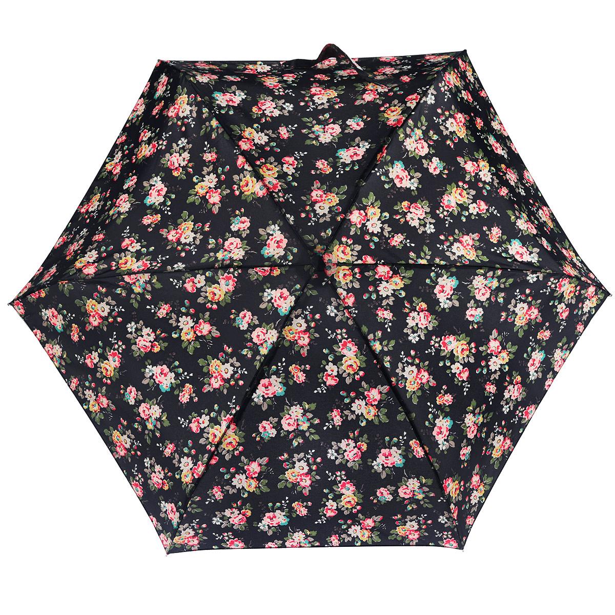 Зонт женский Fulton CathKidston Tiny. Kingswood Rose Charcoal, механический, 5 сложений, цвет: черный, розовый, красный, зеленый. L739-2845L739-2845Очаровательный механический зонт CathKidston Tiny. Kingswood Rose Charcoal в 5 сложений изготовлен из высокопрочных материалов. Каркас зонта состоит из 6 спиц и прочного алюминиевого стержня. Купол зонта выполнен из прочного полиэстера с водоотталкивающей пропиткой и оформлен рисунком в виде цветов. Рукоятка изготовлена из дерева. Зонт имеет механический механизм сложения: купол открывается и закрывается вручную до характерного щелчка. Небольшой шнурок, расположенный на рукоятке, позволяет надеть изделие на руку при необходимости. Модель закрывается при помощи хлястика на застежку-липучку. К зонту прилагается чехол. Прелестный зонт не только выручит вас в ненастную погоду, но и станет стильным аксессуаром, прекрасно дополнит ваш модный образ. Необыкновенно компактный зонт с легкостью поместится в маленькую сумочку.