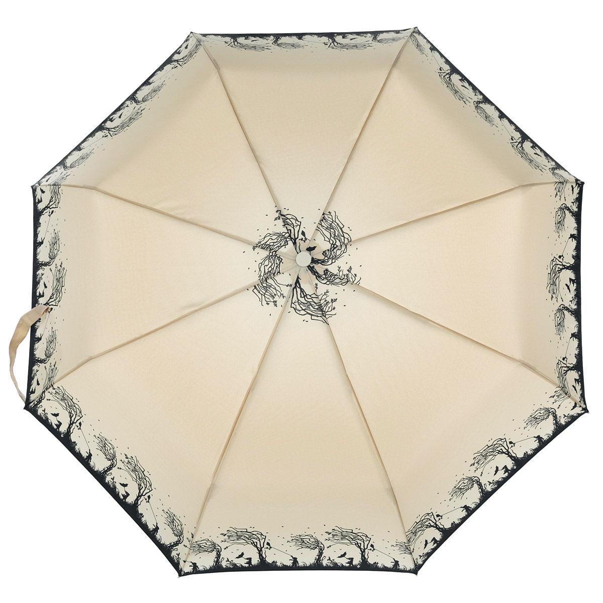 Зонт женский Fulton Windy Silhouette, автомат, 3 сложения, цвет: бежевый, черный. R346-2897R346-2897Очаровательный автоматический зонт Windy Silhouette в 3 сложения изготовлен из высокопрочных материалов. Каркас зонта состоит из 8 спиц и прочного алюминиевого стержня. Купол зонта выполнен из прочного полиэстера с водоотталкивающей пропиткой и оформлен оригинальным узором. Рукоятка, разработанная с учетом требований эргономики, выполнена из пластика. Зонт имеет полный автоматический механизм сложения: купол открывается и закрывается нажатием кнопки на рукоятке, стержень складывается вручную до характерного щелчка. Благодаря этому открыть и закрыть зонт можно одной рукой, что чрезвычайно удобно при входе в транспорт или помещение. Небольшой шнурок, расположенный на рукоятке, позволяет надеть изделие на руку при необходимости. Модель закрывается при помощи хлястика на застежку-липучку. К зонту прилагается чехол. Прелестный зонт не только выручит вас в ненастную погоду, но и станет стильным аксессуаром, который прекрасно дополнит ваш модный образ.