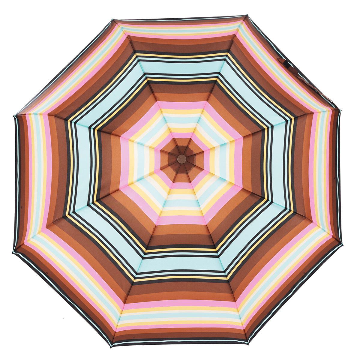 Зонт женский Fulton Rodeo Stripe, автомат, 3 сложения, цвет: коричневый, розовый, бежевый. R346-1416R346-1416Очаровательный автоматический зонт Rodeo Stripe в 3 сложения изготовлен из высокопрочных материалов. Каркас зонта состоит из 8 спиц и прочного алюминиевого стержня. Купол зонта выполнен из прочного полиэстера с водоотталкивающей пропиткой с изображением разноцветных полос. Рукоятка, разработанная с учетом требований эргономики, выполнена из пластика. Зонт имеет полный автоматический механизм сложения: купол открывается и закрывается нажатием кнопки на рукоятке, стержень складывается вручную до характерного щелчка. Благодаря этому открыть и закрыть зонт можно одной рукой, что чрезвычайно удобно при входе в транспорт или помещение. Небольшой шнурок, расположенный на рукоятке, позволяет надеть изделие на руку при необходимости. Модель закрывается при помощи хлястика на застежку-липучку. К зонту прилагается чехол. Прелестный зонт не только выручит вас в ненастную погоду, но и станет стильным аксессуаром, который прекрасно дополнит ваш модный образ.
