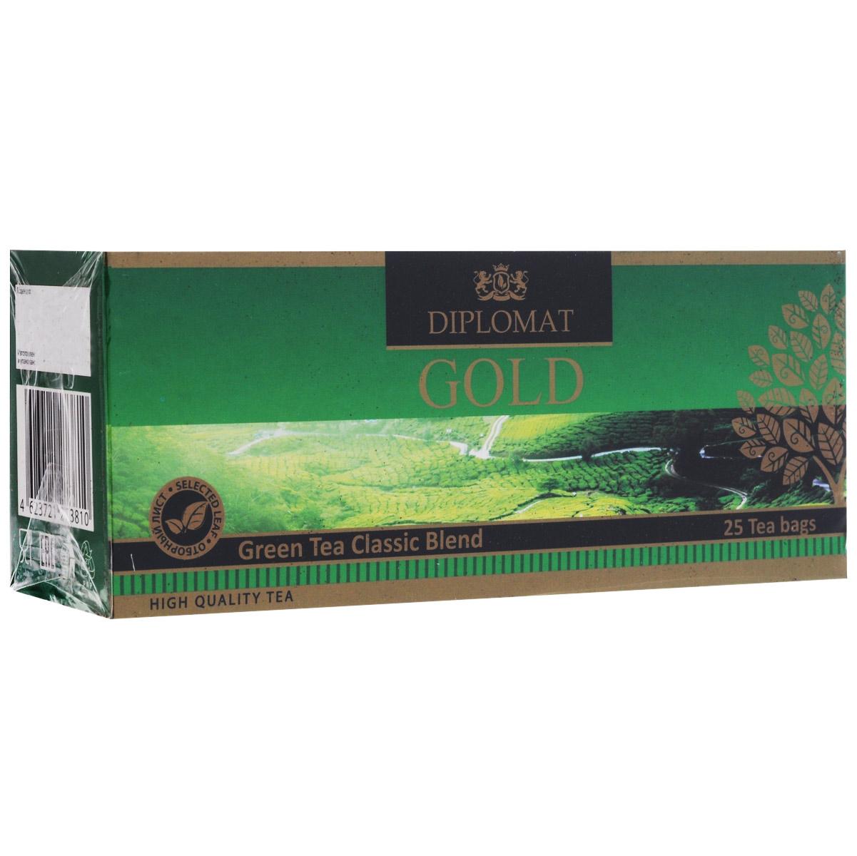 Diplomat Green Tea Classic Blend зеленый чай в пакетиках, 25 шт.