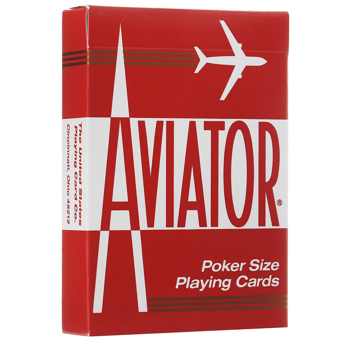 Карты игральные Aviator, покерный размер, стандартный индекс, цвет: красный, 55 штК-194Карты выполнены в характерном классическом дизайне бренда. Они имеют покерный размер и стандартный индекс.