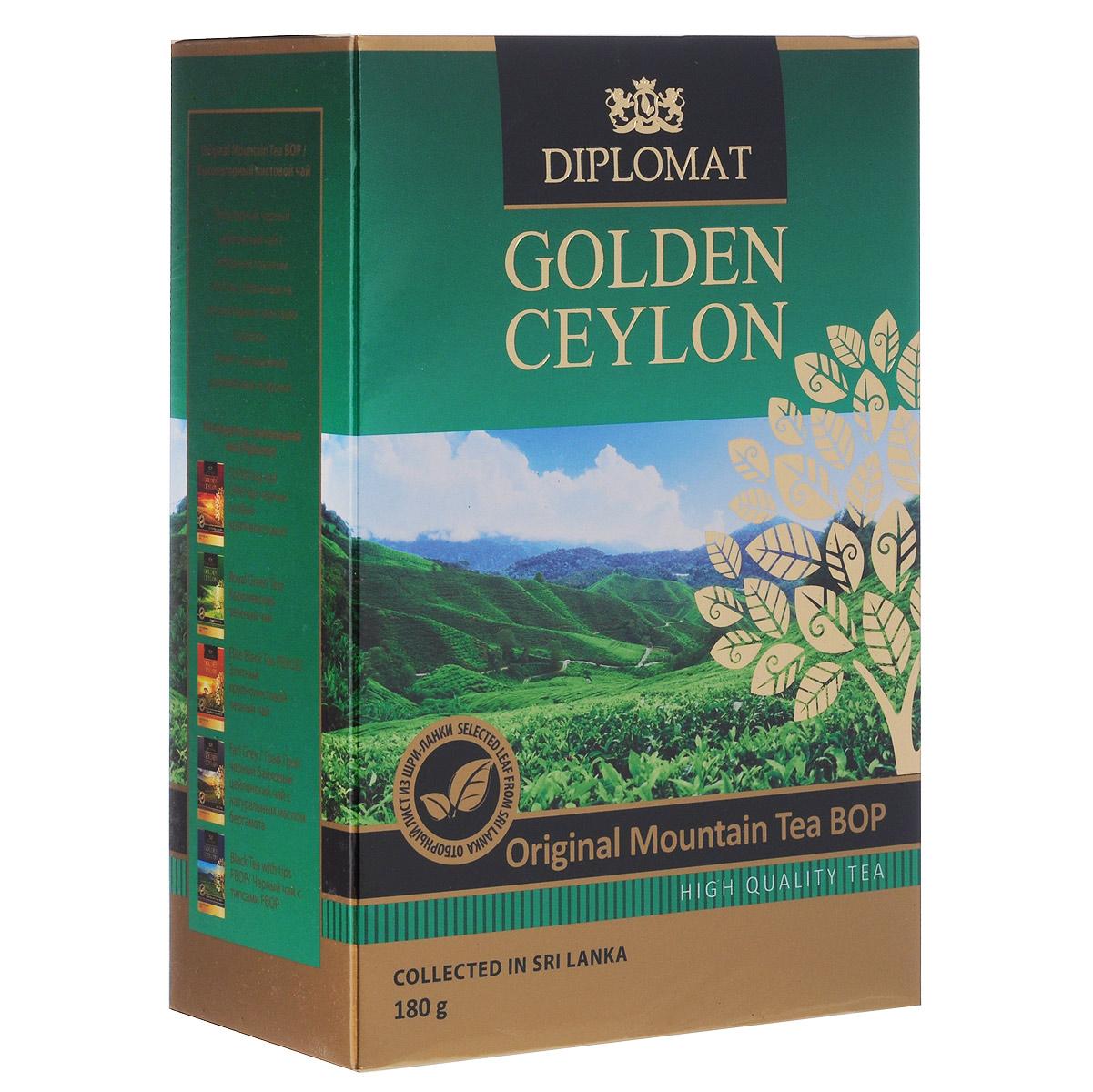 Diplomat Original Mountain Tea BOP черный листовой чай, 180 г4623721180613Популярный черный цейлонский чай Diplomat Original Mountain Tea BOP с отборным ломаным листом, собранным на высокогорных плантациях о.Цейлон. Имеет насыщенный крепкий вкус и аромат.