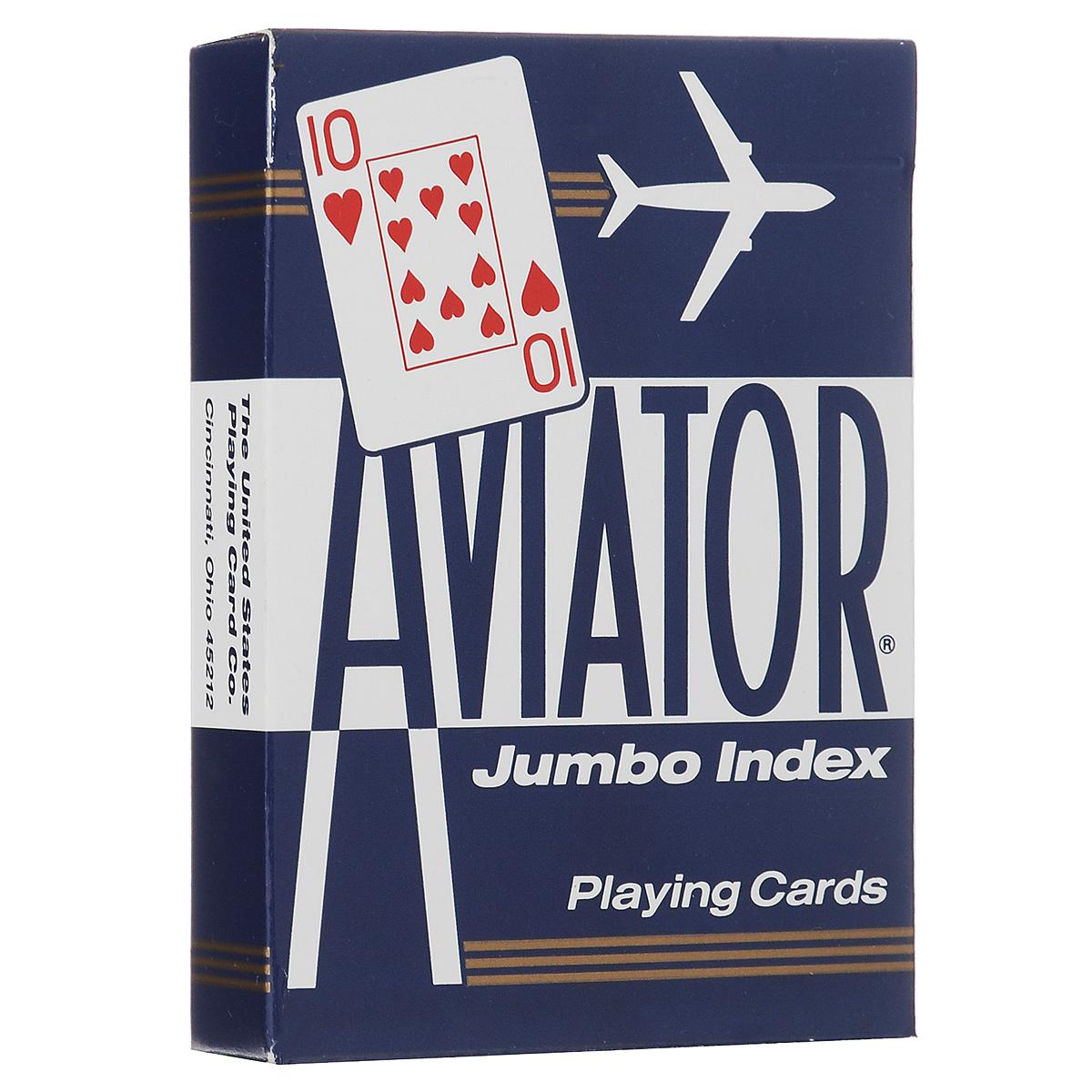 Карты игральные Aviator, покерный размер, большой индекс, цвет: синий, 55 штК-151Игральные карты Aviator - самые недорогие и одни из самых популярных колод. Индексы на этих картах больше обычных, поэтому они видны с большего расстояния.