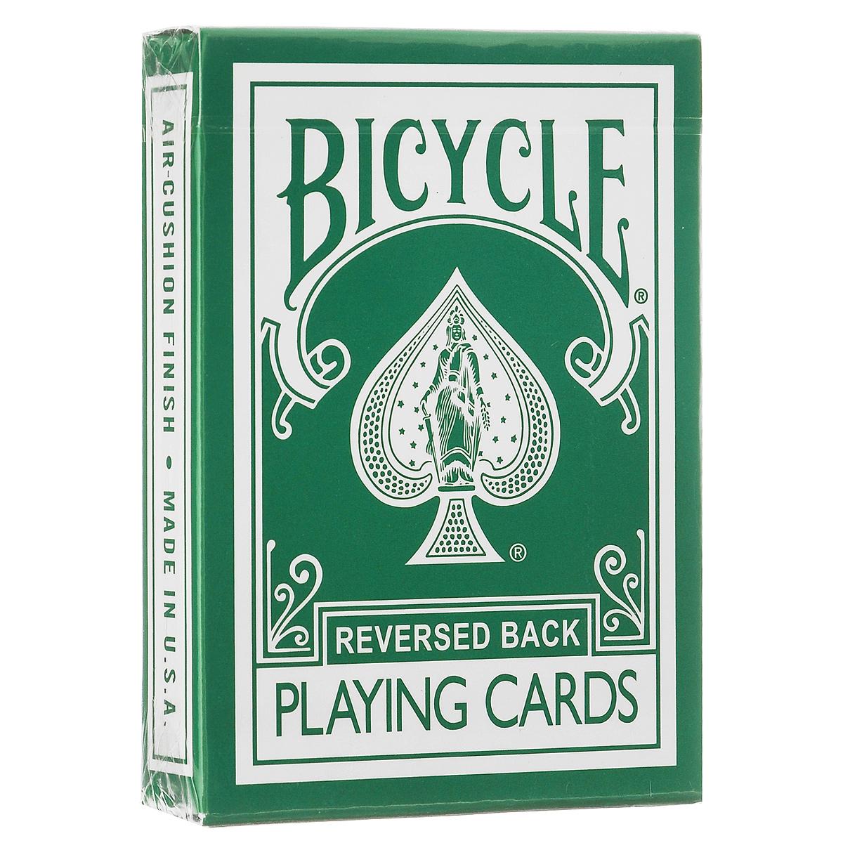 Карты игральные Bicycle Reversed Back, цвет: зеленыйК-222Игральные карты Bicycle Reversed Back станут прекрасным подарком для всех любителей карточных игр. Карты этой оригинальной колоды имеют стильный и реалистичный старинный вид. Такие карты подходят для фокусов, покера и любых других карточных игр. Идеальный вариант как для новичков, так и для профессионалов. Кроме 52 стандартных карт в этой колоде вы найдете 4 дополнительных специальных карты, которые вознесут вас к вершинам мастерства.