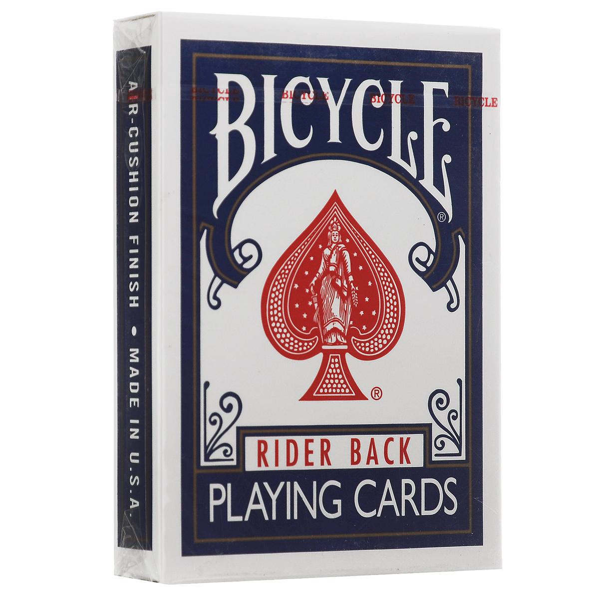 Игральные карты Bicycle Rider Back, цвет: синийК-002Игральные карты Bicycle Rider Back - самые популярные карты! Они выпускаются уже более 120 лет компанией The United States Playing Card Company. Все это время их дизайн остается неизменным, улучшается только качество. Карты прекрасно подходят для различных манипуляций, фокусов, игры в покер. В этой колоде сохранен классический дизайн упаковки