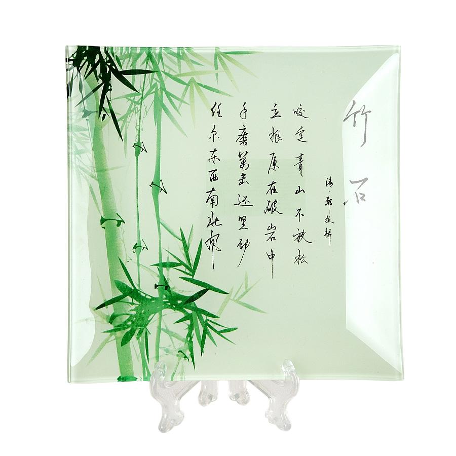 Тарелка House & Holder Бамбук, цвет: зеленый, 24,5 см х 24,5 см х 2 смS3110F130Квадратная тарелка House & Holder Бамбук, изготовленная из стекла, декорирована ярким изображением. Такая тарелка украсит сервировку вашего стола и подчеркнет прекрасный вкус хозяина, а также станет отличным подарком. Размер: 24,5 см х 24,5 см. Высота: 2 см.