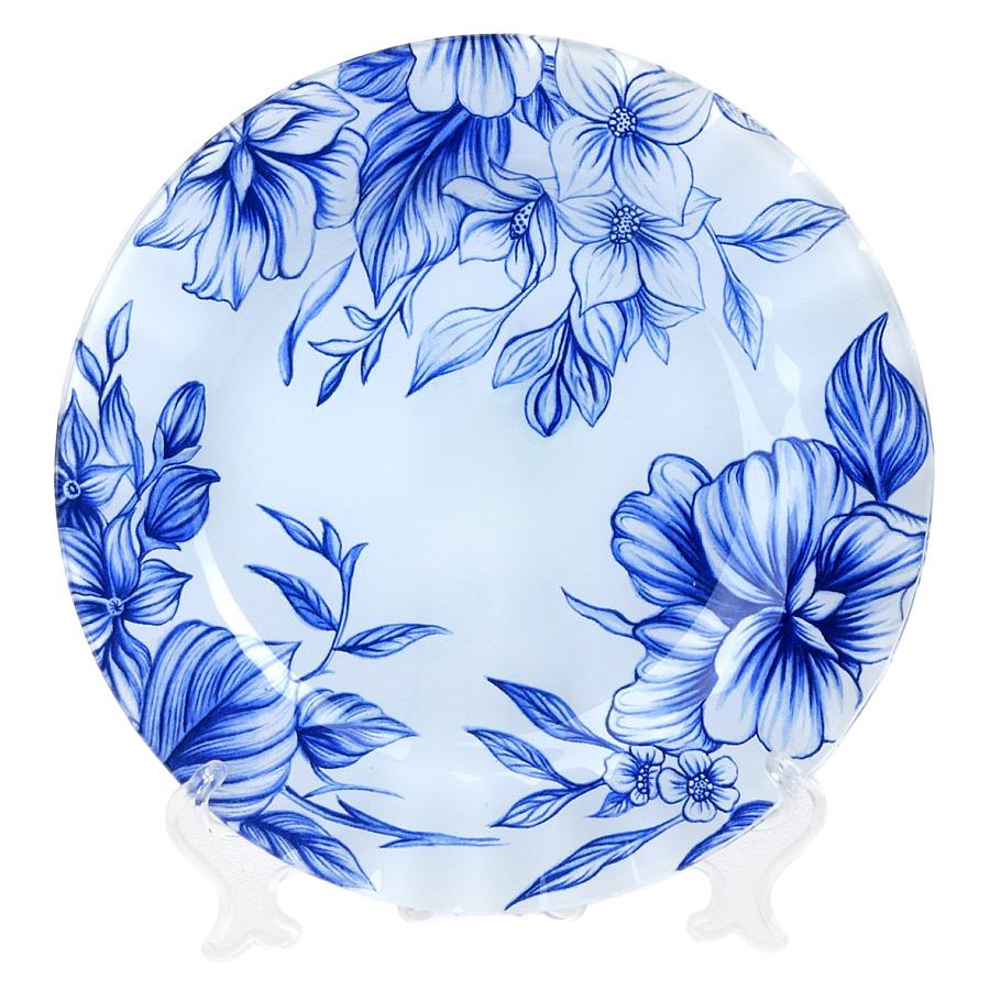Тарелка House & Holder, цвет: белый, синий, диаметр 25 смS3010EF114Круглая тарелка House & Holder, изготовленная из стекла, декорирована изображением цветов. Такая тарелка изысканно украсит сервировку как обеденного, так и праздничного стола. Диаметр: 25 см. Высота: 2 см.