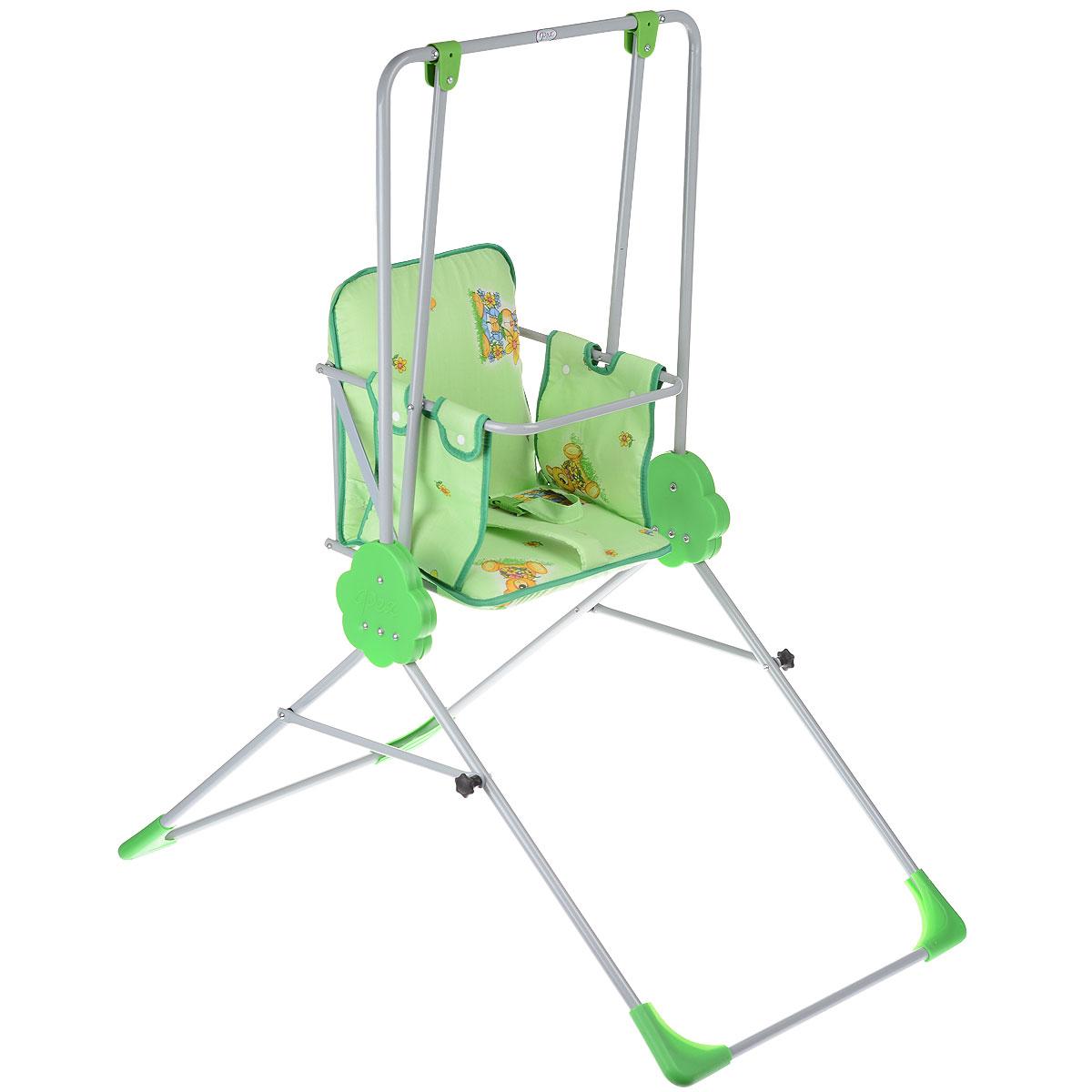 Качели детские Фея Малыш, цвет: зеленый4239-10Детские качели Фея Малыш предназначены для развлечения и развития вестибулярного аппарата малышей. Качели представляют собой прочный металлический каркас с мягкими насадками, который очень просто складывается и раскладывается. Сидение очень комфортное и мягкое, с яркими рисунками, также оно снабжено ремнем безопасности и съемным чехлом. Предельно допустимая нагрузка составляет 15 кг. В сложенном состоянии качели очень компактны и занимают мало места, поэтому их можно брать с собой на дачу.
