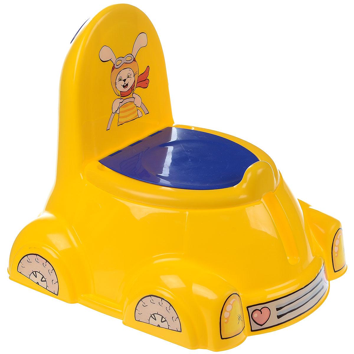 Горшок детский Marian Plast PalPlay, с крышкой, цвет: желтый, синий531_желтыйДетский горшок с крышкой Marian Plast PalPlay сделает процесс приучения ребенка к горшку быстрым и комфортным. Яркий горшок в форме автомобиля выполнен из высококачественного пластика и оформлен красочным рисунком, изображающим зайчика. Внутреннюю часть горшка можно легко вынуть и помыть отдельно. Горшок имеет поднимающуюся крышку и твердую спинку, что обеспечивает малышу максимальный комфорт. Спинка сзади снабжена удобной ручкой. Благодаря специально разработанной конструкции горшок не опрокидывается.