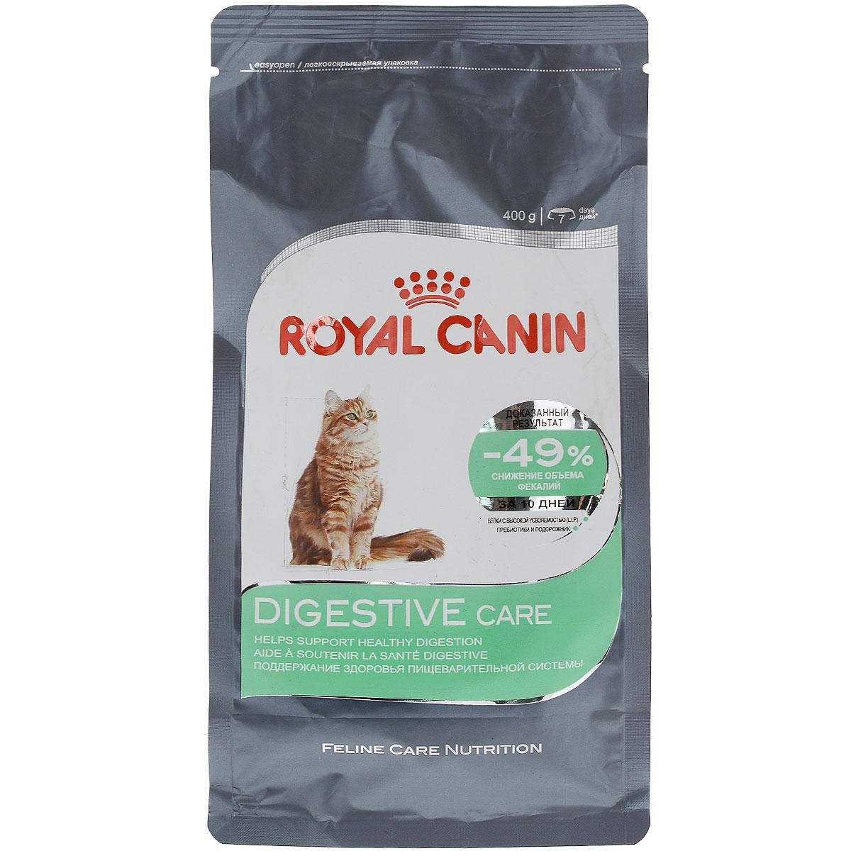 Корм сухой Royal Canin Digestive Care, для взрослых кошек с чувствительным пищеварением, 400 г59039Сухой корм Royal Canin Digestive Care - это полнорационный сбалансированный корм для кошек с расстройствами пищеварительной системы. По своей природе кошки регулярно потребляют небольшое количество пищи в течение дня. Однако, некоторые из них способны съесть достаточно большую порцию за короткое время, что может привести к пищеварительному расстройству и срыгиванию. Специальные крокеты разработаны для того, чтобы стимулировать тщательное пережевывание корма и предотвратить его заглатывание, что предотвратит срыгивание пищи. Формула специально разработана для того, чтобы способствовать оптимальному усвоению продукта и облегчить процесс пищеварения. В дальнейшем это приведет к уменьшению объема фекалий. Уход за ЖКТ-это точно сбалансированная питательная формула, которая помогает поддерживать здоровье пищеварительной системы. С двойным действием: - Легко усваивается: пищеварительная формула содержит белки чрезвычайно высокой усвояемости (L.I.P). В его...