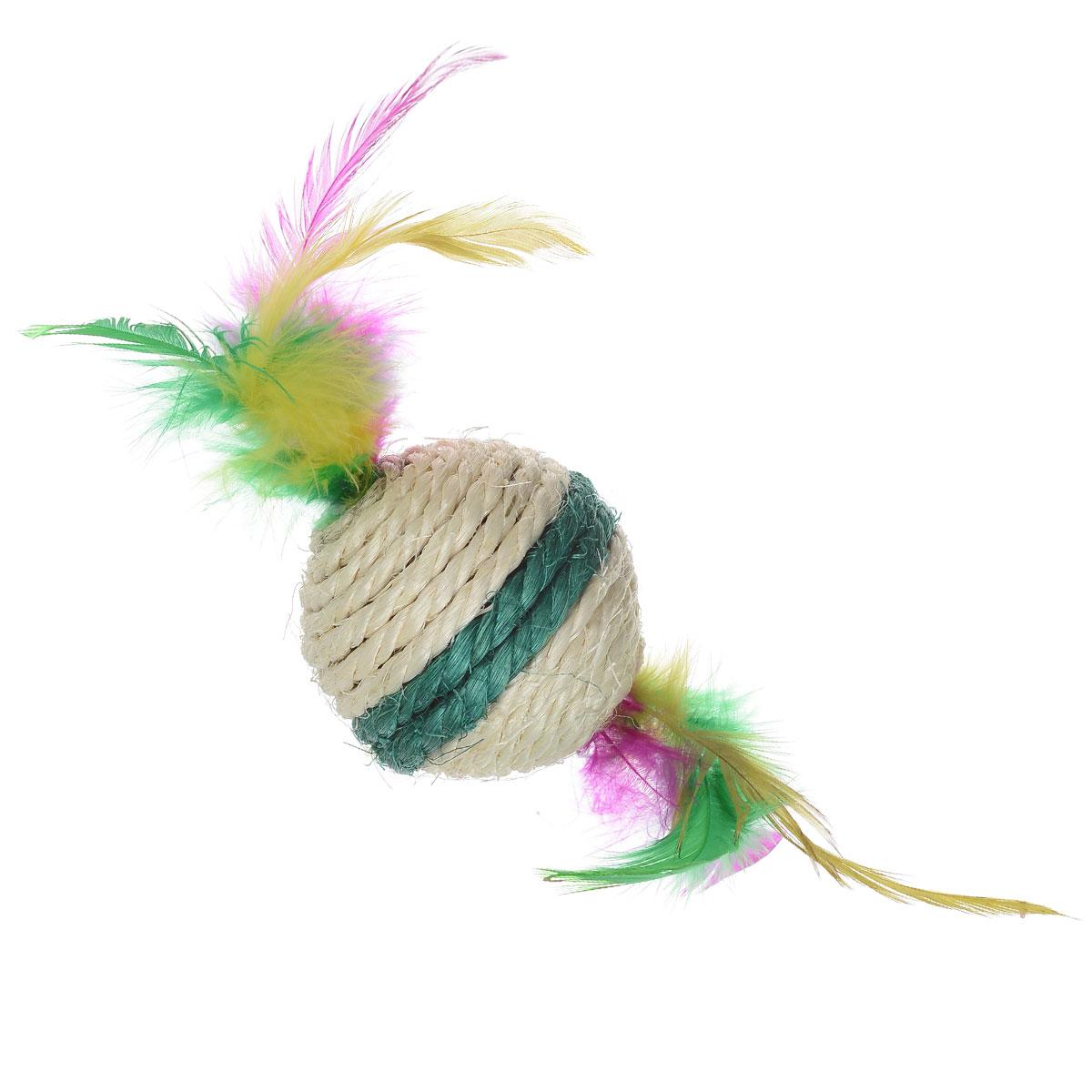 Игрушка-когтеточка Triol Шарик с перьями, цвет: зеленый, диаметр 6 смКк-03000_зеленая полоскаИгрушка-когтеточка Triol Шарик с перьями выполнена из сизаля и украшена разноцветными перьями. Внутри игрушки находится погремушка. Всем кошкам необходимо стачивать когти. Когтеточка - один из самых необходимых аксессуаров для кошки. Для приучения к когтеточке можно натереть ее сухой валерьянкой или кошачьей мятой. Игрушка-когтеточка Triol Шарик с перьями поможет вашему любимцу стачивать когти и при этом не портить вашу мебель. Диаметр игрушки: 6 см.