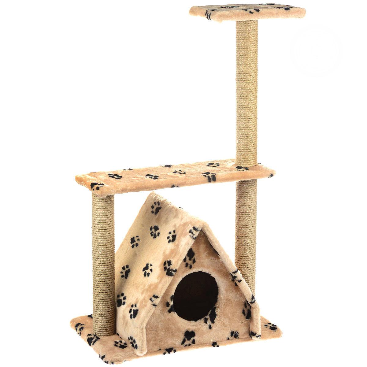 Домик для кошек Пушок Избушка, с тремя когтеточками, цвет: бежевый4640000931087_бежевый со следамиБольшой, уютный домик Пушок Избушка, изготовленный из ДСП, сизаля и искусственного меха, отлично подойдет для котят и взрослых кошек. Такой домик станет не только идеальным местом для подвижных игр вашего любимца, но и местом для отдыха. Благодаря трем столбикам-когтеточкам, обернутым веревками из сизаля, ваша кошка удовлетворит природную потребность точить когти, что поможет сохранить вашу мебель и ковры. Для приучения любимца к когтеточке можно натереть ее сухой валерьянкой или кошачьей мятой. Размер основания: 61 см х 37 см. Высота домика (без когтеточек): 43 см. Общая высота: 105 см.