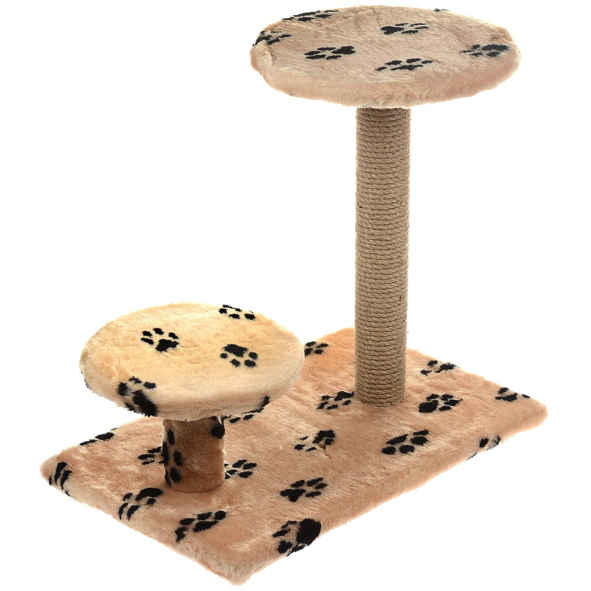 Когтеточка Пушок, с круглой площадкой и ступенькой, цвет: бежевый, 62 х 58 х 38 см4640000931759Когтеточка Пушок поможет сохранить мебель и ковры в доме от когтей вашего любимца, стремящегося удовлетворить свою естественную потребность точить когти. Когтеточка изготовлена из джута, прямоугольное основание выполнено из ДСП и обтянуто искусственным мехом. Изделие оснащено круглой площадкой и ступенькой. Товар продуман в мельчайших деталях и, несомненно, понравится вашей кошке. Всем кошкам необходимо стачивать когти. Когтеточка - один из самых необходимых аксессуаров для кошки. Для приучения к когтеточке можно натереть ее сухой валерьянкой или кошачьей мятой. Когтеточка поможет вашему любимцу стачивать когти и при этом не портить вашу мебель.