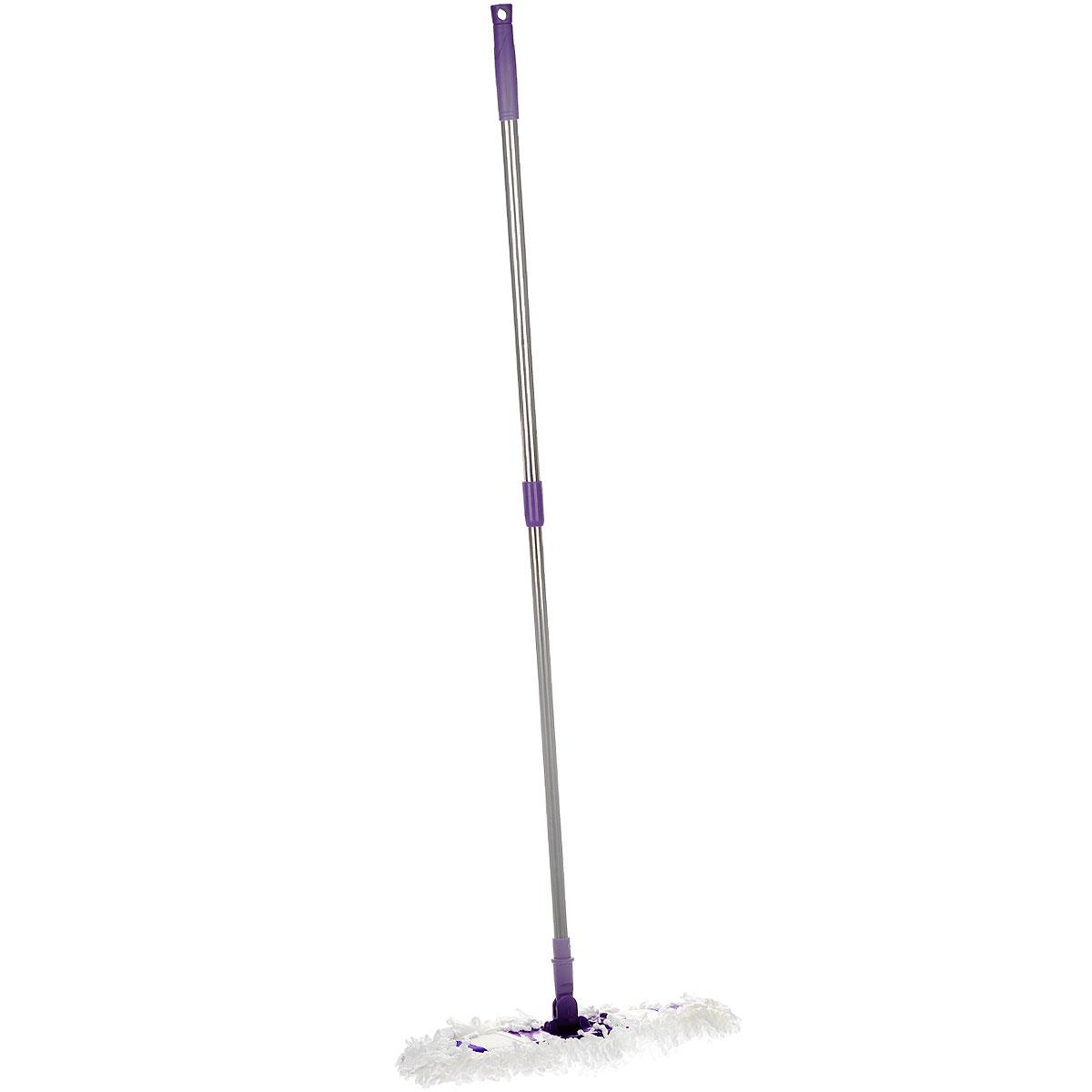 Швабра Фэйт Флаундер-4, с телескопической ручкой и сменной насадкой, цвет: сиреневый, 70-125 см68961_сиреневыйШвабра Фэйт Флаундер-4 предназначена для сухой и влажной уборки в доме. Сменная насадка выполнена из микрофибры, которая впитывает воду и грязь подобно губке. Такая насадка позволит вам использовать во время уборки меньшее количество чистящих средств. Она подходит для всех видов гладких полов из плитки, паркета, ламината и камня. Швабра оснащена удобной металлической телескопической ручкой с подвижной частью и фиксацией, которая позволяет использовать ее в труднодоступных местах. На конце ручки имеется специальная петля, благодаря которой швабру можно подвесить в любом удобном месте. Платформа швабры выполнена из высокопрочного пластика. Платформа может двигаться под любым углом, на любой плоскости. Подвижная платформа позволяет вымыть полы, не отодвигая крупногабаритную мебель, протереть стены от пыли за шкафами. Также такой шваброй очень удобно и легко протирать потолки. Длина ручки: 70-125 см. Размер рабочей части: 40 см х 12 см.