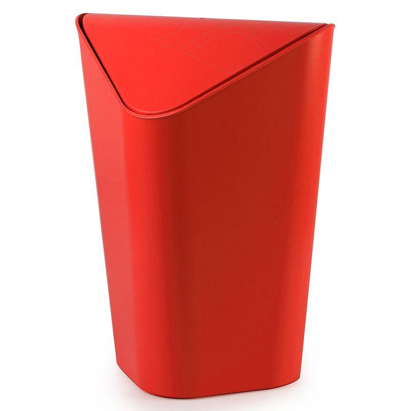 Контейнер для мусора Umbra Corner, цвет: красный, 10 л086900-505Отсутствие пространства - проблема вашего дома? Ничего, ведь есть компактная и удобная корзина для мусора, которая сэкономит место даже в самых маленьких помещениях. Ванная комната, туалет, кабинет или кухня - уголок найдется везде. Удобная качающаяся крышка обеспечивает простоту использования и очистки корзины. Пожалуй, вы сами удивитесь, как обходились без такой удобной вещи! Объем: 10 литров.