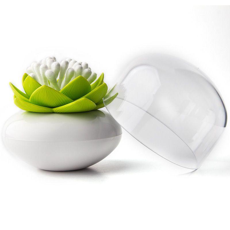 Контейнер для хранения ватных палочек Lotus белый/зеленыйQL10157-WH-GNКонтейнер для хранения ватных палочек Lotus помимо своих основных функций, будет прекрасным элементом декора для Вашей спальни или ванной комнаты. Материал: пластик; цвет: зеленый