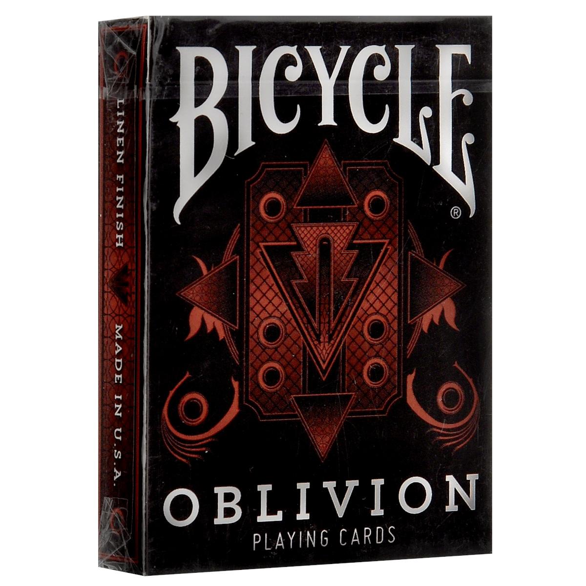 Игральные карты Bicycle Oblivion, цвет: черный, красныйК-312Игральные карты Bicycle Oblivion - колода превосходного качества, которая прослужит вам долгие годы. Оригинальные дизайнерские Тузы, фигуры, Джокер, специальные карты не оставят вас равнодушными. Игральные карты Bicycle Oblivion - колода, разработанная Дэйвом Бемом.