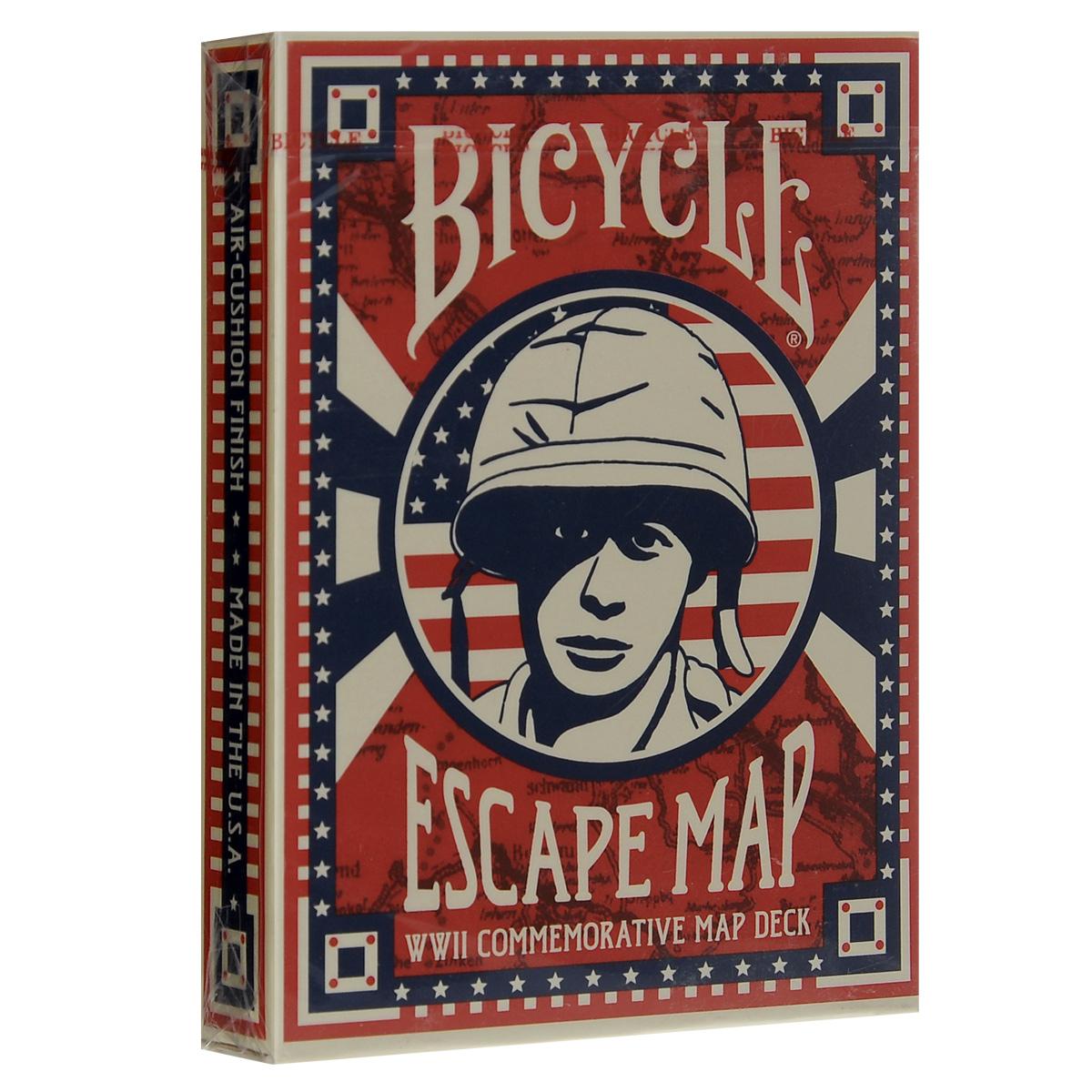 Игральные карты Bicycle Escape Map, цвет: красный, синийК-321Во время Второй Мировой войны United States Playing Card Company объединила усилия с американскими и британскими спецслужбами, чтобы создать совершенно особую колоду карт. Эта колода была создана, чтобы помочь союзным пленным сбежать из немецких концлагерей. Колода стала известна под названием Колода-карта. В ней были скрыты секретные пути эвакуации. Когда на карты попадала вода, можно было увидеть второй слой - на котором и были скрыты драгоценные пути побега. Долгое время колода оставалась секретной. Один демонстрационный экземпляр есть в музее шпионажа в Вашингтоне, округ Колумбия, и другой - в частных руках. Перед вами репродукция 1990 года.
