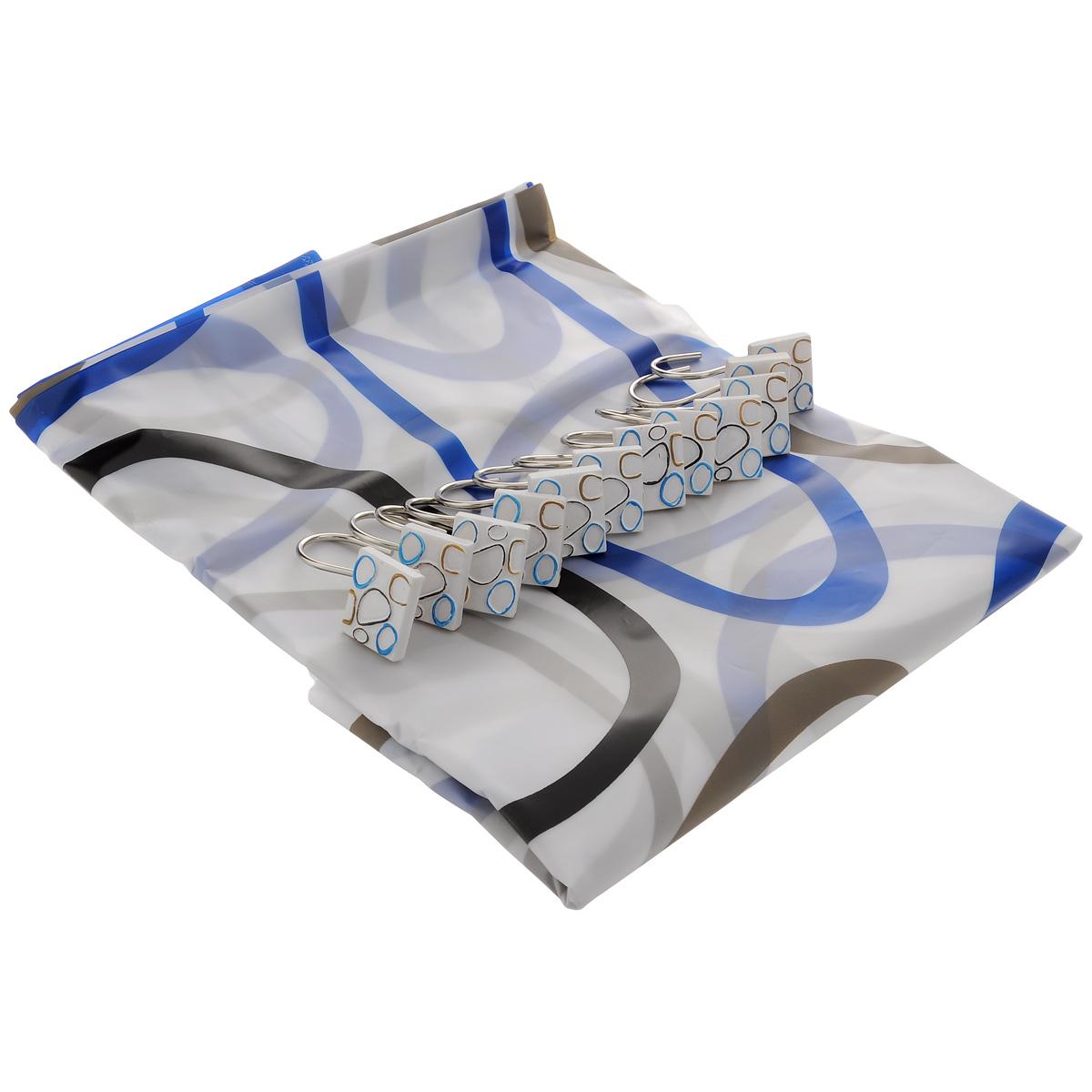 Штора для ванной комнаты House & Holder, цвет: черный, синий, коричневый, 180 х 180 см SWY069SWY069Штора для ванной комнаты House & Holder изготовлена из полимера с водоотталкивающим покрытием, оформлена изображением геометрических фигур. Такая штора легко стирается и быстро сохнет. В ее верхней кромке предусмотрены отверстия для крючков. Крючки, выполненные из металла, декорированы объемными фигурками. Количество крючков: 12 шт.