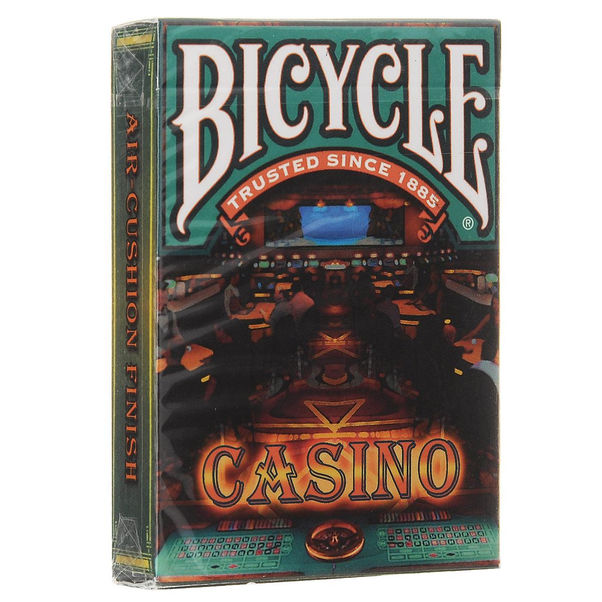 Игральные карты Bicycle Casino, цвет: зеленый, коричневыйК-451Красочный дизайн колоды, с различными узорами окунет Вас в атмосферу азартных игр. Вы буквально почувствуете, что находитесь вечером в одном из казино Лас-Вегаса.