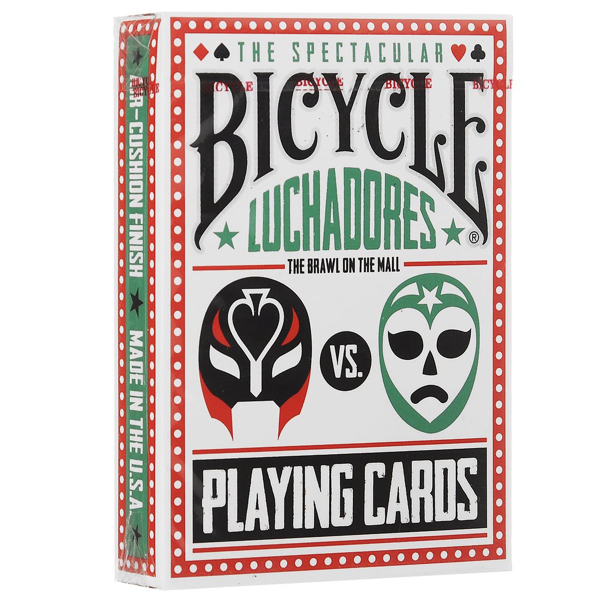 Игральные карты Bicycle Luchadores, цвет: белый, красный, зеленыйК-359Эта колода посвящена мексиканскому виду борьбы - Луча Либре. На картах изображены бойцы, 16 различных героев. Каждый из них прорисован в своей уникальной экипировке.