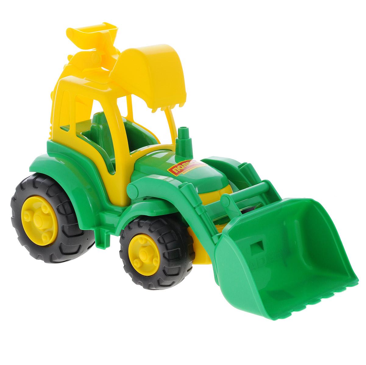 Полесье Трактор Чемпион цвет зеленый желтый513_зеленыйТрактор Полесье Чемпион, выполненный из яркого и прочного материала, отлично подойдет ребенку для различных игр. Трактор оснащен большим ковшом, с помощью которого можно перемещать материалы (камушки, песок), убирать строительный мусор или расчищать площадку. Сзади трактора находится стрела со вторым ковшом, которая поднимается, опускается и поворачивается, что поможет ребенку в его работах. В просторную незастекленную кабину машины легко поместится минифигурка водителя ( в комплект не входит). Широкие колеса трактора со свободным ходом обеспечивают игрушке устойчивость и хорошую проходимость. С этим реалистично выполненным трактором ваш малыш часами будет занят игрой!