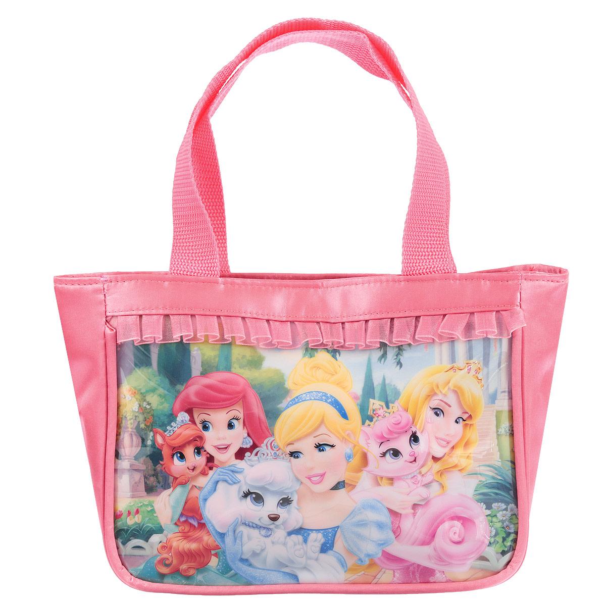 Сумочка детская Princess, цвет: розовыйPRCB-UT4-4011Детская сумочка Princess - это модный аксессуар для юной поклонницы популярного мультсериала . Сумочка выполнена из прочного материала ярко-розового цвета и оформлена с лицевой стороны аппликацией из ПВХ с изображением трех принцесс и обрамлена текстильной рюшкой. Сумочка содержит одно отделение и закрывается с помощью застежки-молнии. Сумочка оснащена не регулируемыми ручками для переноски в руке. Порадуйте свою малышку таким замечательным подарком! Предназначено для детей 7-10 лет.