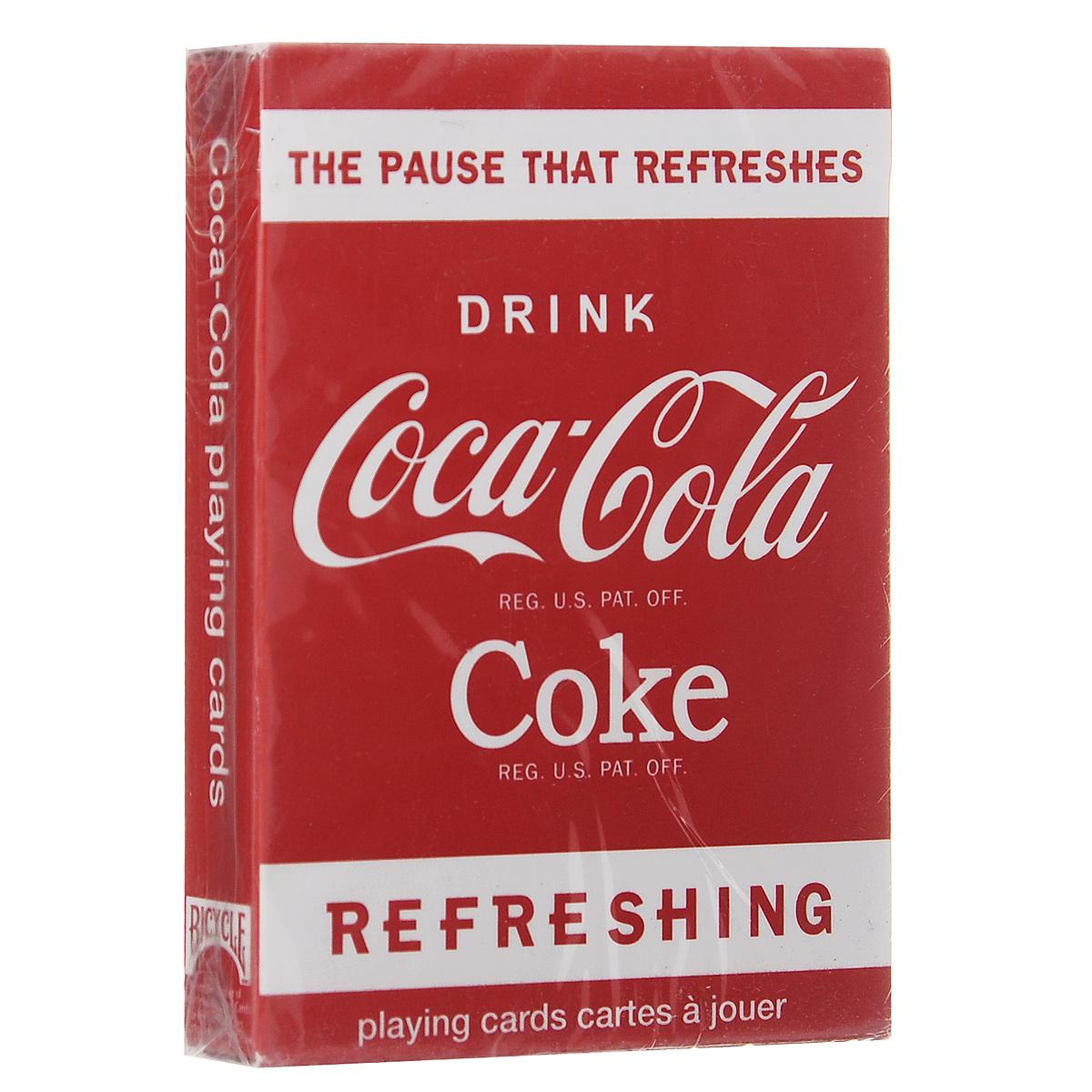 Игральные карты Bicycle Coca - Cola, цвет: красный, белый, 54 штК-199Сделайте паузу и побалуйте себя прохладительными напитками. Новая колода United States Playing Cards освежит ваше представление Кока-Колой. Эта колода из 54 карт покажет вам разные периоды жизни бренда. Переживите вновь историю Кока-Колы.