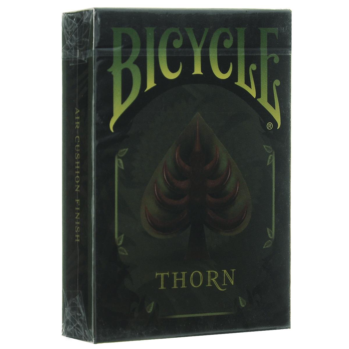 Игральные карты Bicycle Thorn, цвет: зеленыйК-393Элегантная колода карт, вдохновением для создания которой послужили фантастические истории Джунглей. Благодаря узнаваемому дизайну, отменному качеству и невысокой цене они пользуются популярностью во всем мире.