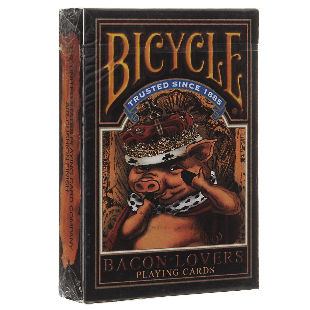 Игральные карты Bicycle Любители Бекона, цвет: оранжевый, темно-коричневыйК-417Рады представить вам необычные карты с изображением поросят. Они как будто дразнят вас своими пухлыми животами.