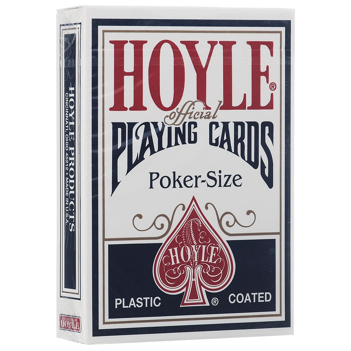 Игральные карты Hoyle, цвет: синийК-083Эта высококачественная карточная колода подходит для любых карточных фокусов, а также для игры в покер. Колода включает в себя инструкции для самой популярной теперь формы игры Texas Hold Em.