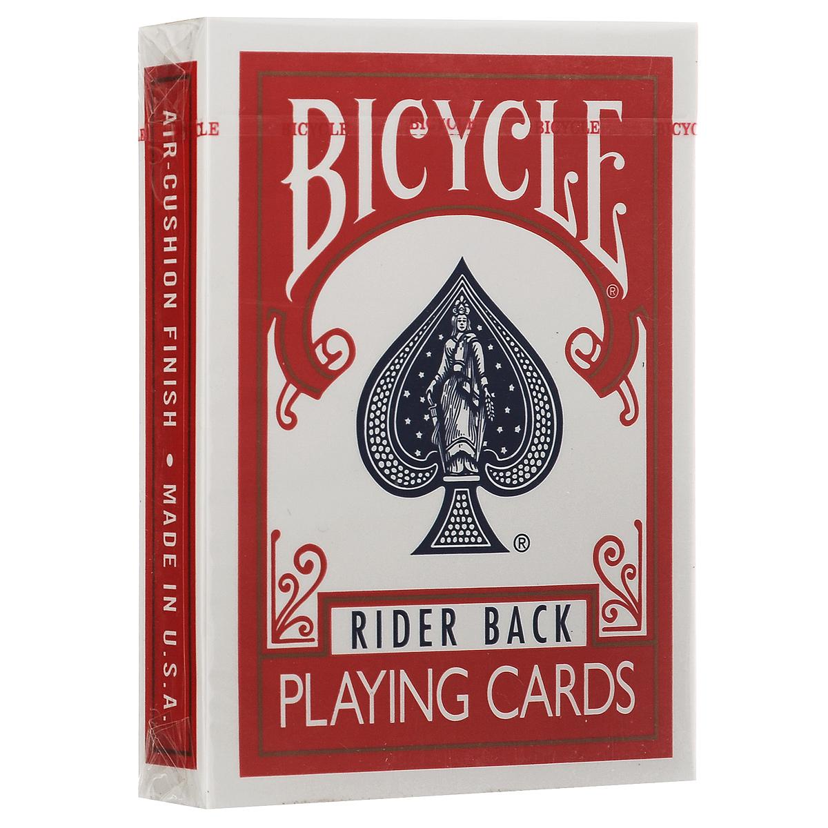 Игральные карты Bicycle Rider Back, цвет: красныйК-001Игральные карты Bicycle Rider Back - самые популярные карты! Они выпускаются уже более 120 лет компанией The United States Playing Card Company. Все это время их дизайн остается неизменным, улучшается только качество. Карты прекрасно подходят для различных манипуляций, фокусов, игры в покер. В этой колоде сохранен классический дизайн упаковки