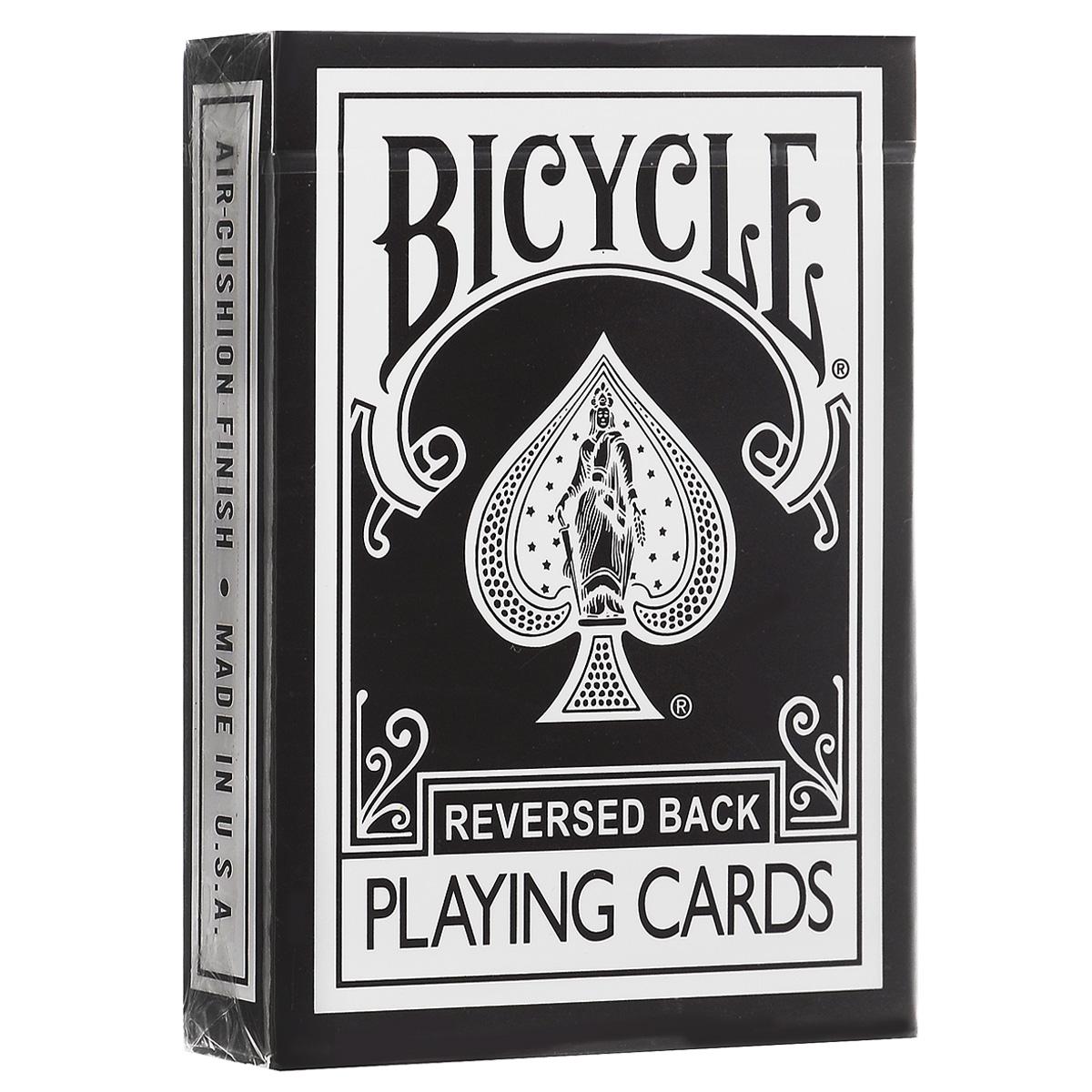 Карты игральные Bicycle Reversed Back, цвет: черныйК-223Игральные карты Bicycle Reversed Back станут прекрасным подарком для всех любителей карточных игр. Карты этой оригинальной колоды имеют стильный и реалистичный старинный вид. Такие карты подходят для фокусов, покера и любых других карточных игр. Идеальный вариант как для новичков, так и для профессионалов. Кроме 52 стандартных карт в этой колоде вы найдете 4 дополнительных специальных карты, которые вознесут вас к вершинам мастерства.