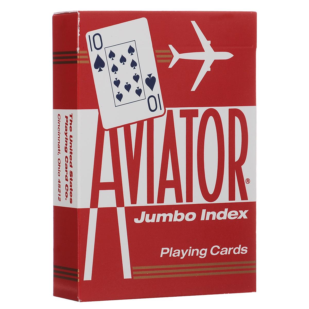 Карты игральные Aviator, покерный размер, большой индекс, цвет: красный, 55 штК-150Игральные карты Aviator - самые недорогие и одни из самых популярных колод. Индексы на этих картах больше обычных, поэтому они видны с большего расстояния.