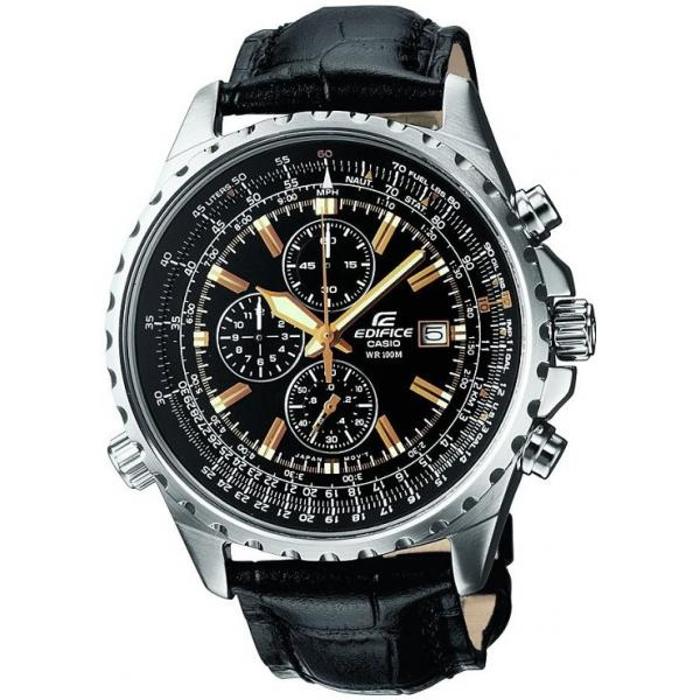 Наручные часы Casio EF-527L-1AEF-527L-1AНаручные часы Casio EF-527L-1A. Неоновый дисплей: Светящееся покрытие обеспечивает длительную подсветку в темное время суток после короткого воздействия света. Дисплей с датой: На дисплее отображается текущая дата. Функция секундомера - 1/20 сек. - 12 часов: Прошедшее время измеряется с точностью в 1/20 секунды. Пределы измерения достигают 12 часов. Функция логарифмической линейки: Для выполнения различных расчетов можно использовать функцию логарифмической линейки , например, для расчета маршрута полета, скорости или расхода топлива. Функция логарифмической линейки используется в основном в авиаторских часах. Минеральное стекло: Прочное, устойчивое к царапинам минеральное стекло защищает часы от повреждений. Крышка с винтовым фиксатором: Резьбовое соединение на основании корпуса оптимально защищает внутренний механизм часов и одновременно обеспечивает легкий доступ, например, при замене...