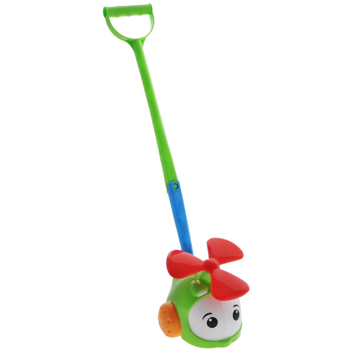 Игрушка-каталка Вертолетик, цвет: салатовый1376Яркая игрушка-каталка Вертолетик будет побуждать вашего ребенка к прогулкам и двигательной активности. Она подойдет для игры как дома, так и на свежем воздухе. Игрушка выполнена из полипропилена в виде милого вертолетика. Ребенок сможет катать игрушку, толкая ее перед собой, что позволит развить навык ползанья. Удобная съемная ручка-толкатель даст ребенку возможность не расставаться с любимой игрушкой, когда он научится ходить. Во время движения у вертолетика крутится винт. Игрушка-каталка Вертолетик развивает у ребенка пространственное мышление, цветовое восприятие, ловкость и координацию движений, тактильные ощущения, память, внимание и слух.