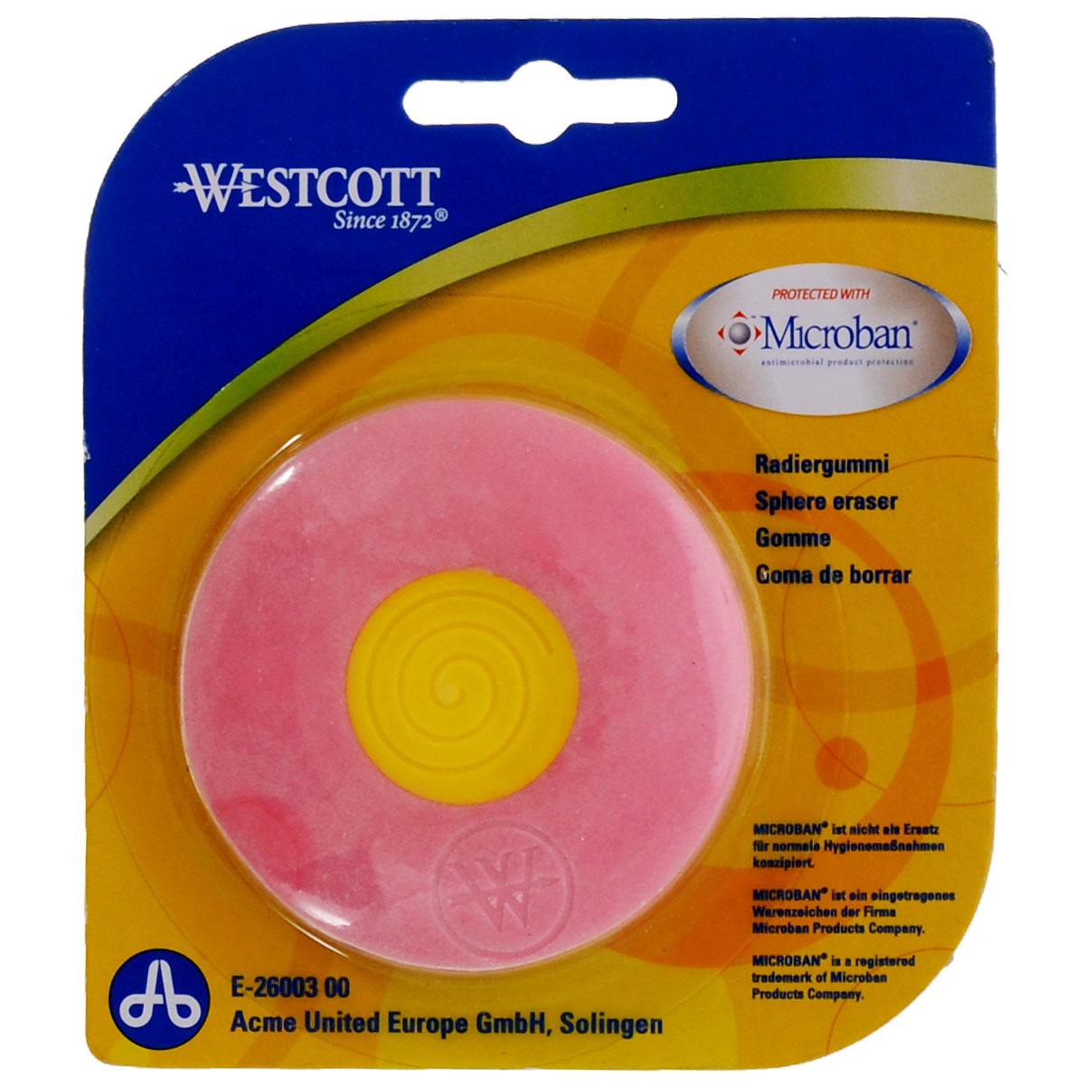 Ластик Westcott Microban, с антибактериальным покрытием, цвет: розовыйЕ-26003 00Нас окружает огромное количество бактерий, многие из которых не безопасны, поэтому все большее число товаров выпускается со встроенной антибактериальной защитой. Яркий, двухцветный ластик со встроенной антибактериальной защитой Microban легко и без следа удаляет надписи, сделанные карандашом. Для более точного удаления имеет заостренные края. Эффективность защиты Microban подтверждена множеством лабораторных исследований по всему миру. Эффективен против широкого спектра грамположительных и грамотрицательных бактерий и грибков, таких как: сальмонелла, золотистый стафилококк и другие, которые вызывают заболевания, сопровождающиеся расстройством кишечника и грибковыми заболевания. (Всего около 100 микроорганизмов). Ластик сохраняет свои свойства после мытья и в случае механического повреждения изделия. Антибактериальные свойства не исчезают со временем и не снижают свою эффективность. Microban абсолютно безвреден для людей и животных, не вызывает аллергии.