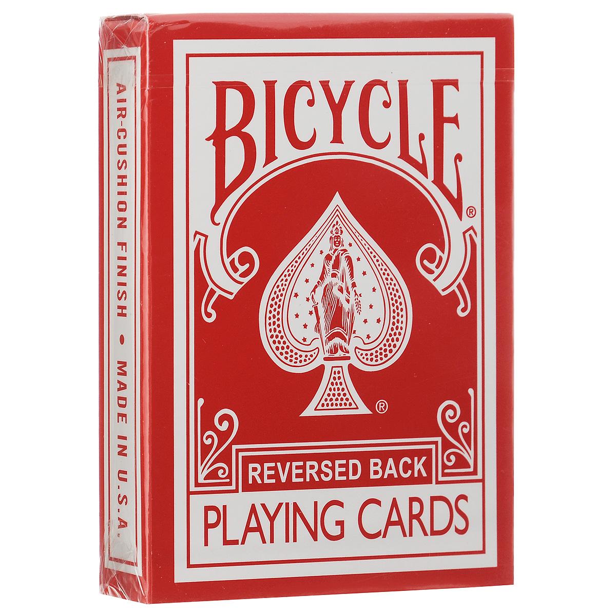 Карты игральные Bicycle Reversed Back, цвет: красныйК-225Игральные карты Bicycle Reversed Back станут прекрасным подарком для всех любителей карточных игр. Карты этой оригинальной колоды имеют стильный и реалистичный старинный вид. Такие карты подходят для фокусов, покера и любых других карточных игр. Идеальный вариант как для новичков, так и для профессионалов. Кроме 52 стандартных карт в этой колоде вы найдете 4 дополнительных специальных карты, которые вознесут вас к вершинам мастерства.