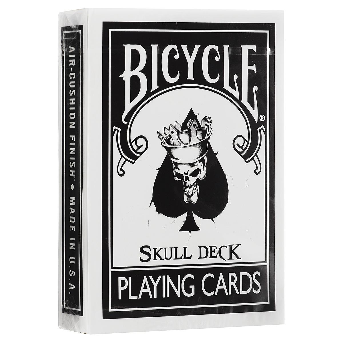 Карты игральные Bicycle The Skull Deck, цвет: черный, белыйК-214Одна из самых известных карточных колод теперь доступна коллекционерам и исполнителям в новом обличье. Колода рельефна, к тому же края ее сделаны специально для того, чтобы полетом было легче управлять. В комплекте вы найдете специальный Туз Пик. Удивите своих зрителей новыми фокусами, которые станут возможны с этой колодой.