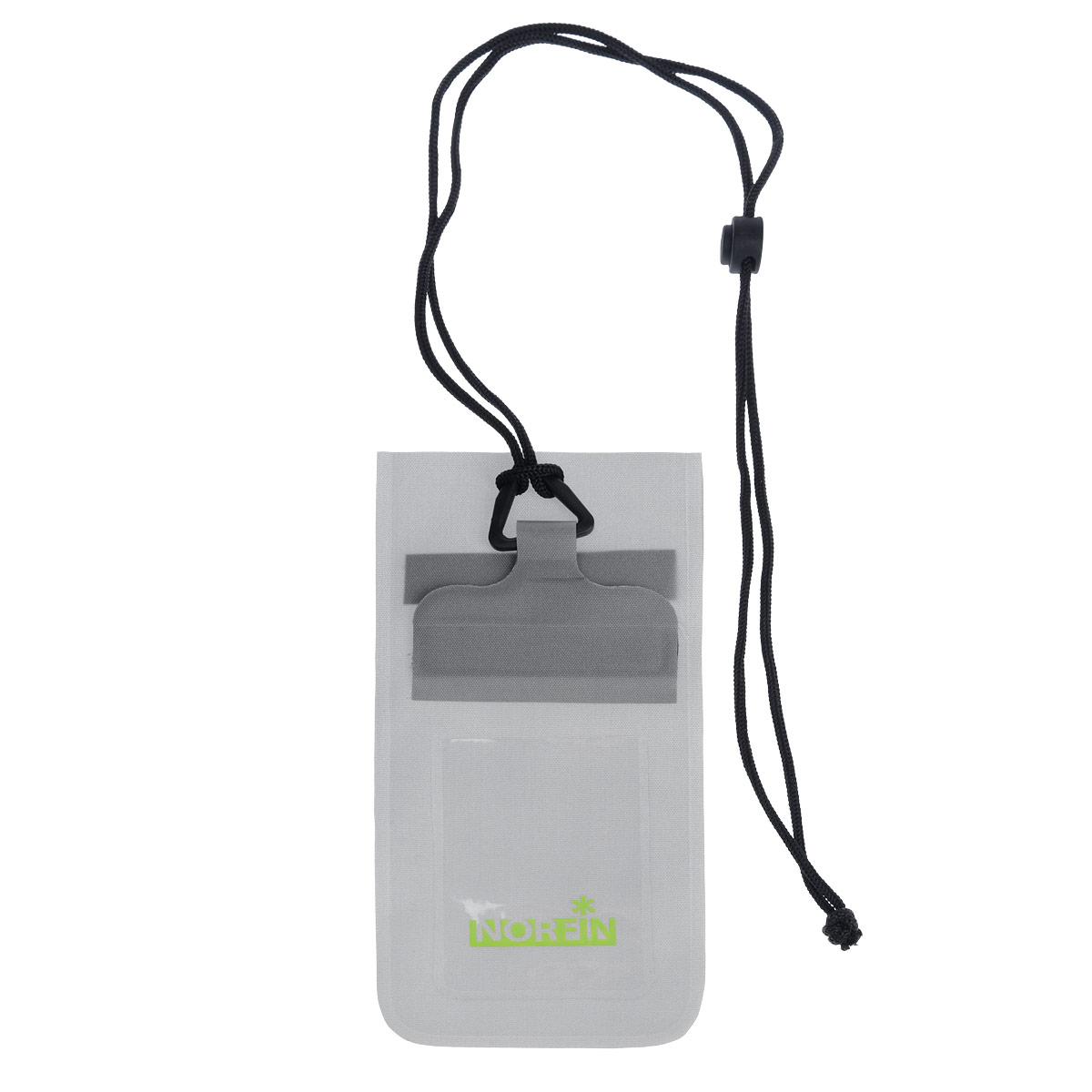 Гермочехол Norfin Dry Case 02, цвет: серый, 23,5 см х 11 смNF-40307Гермочехол нагрудный Norfin Dry Case 02 предназначен для защиты небольших предметов от воды: документы, телефон, плеер и так далее. Идеален для защиты телефонов самого маленького и большого размера, с размером диагонали до 5. Пленка гермочехла чувствительна к теплу рук, можно пользоваться телефоном с сенсорным экраном не вынимая его из чехла.