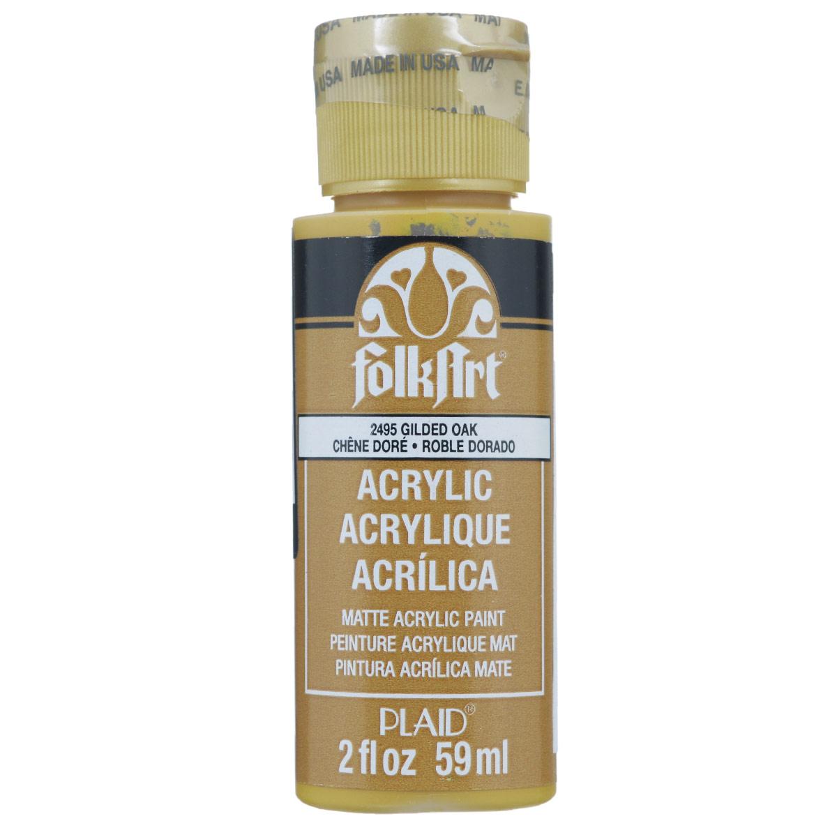 Акриловая краска FolkArt, цвет: золотой дуб, 59 млPLD-02495Акриловая краска FolkArt выполнена на водной основе и предназначена для рисования на пористых поверхностях. Краска устойчива к погодным и ультрафиолетовым воздействиям. Не нуждается в дополнительном покрытии герметиком. После высыхания имеет глянцевый вид. Изделия покрытые краской FolkArt, прекрасно дополнят ваш интерьер. Объем: 59 мл.