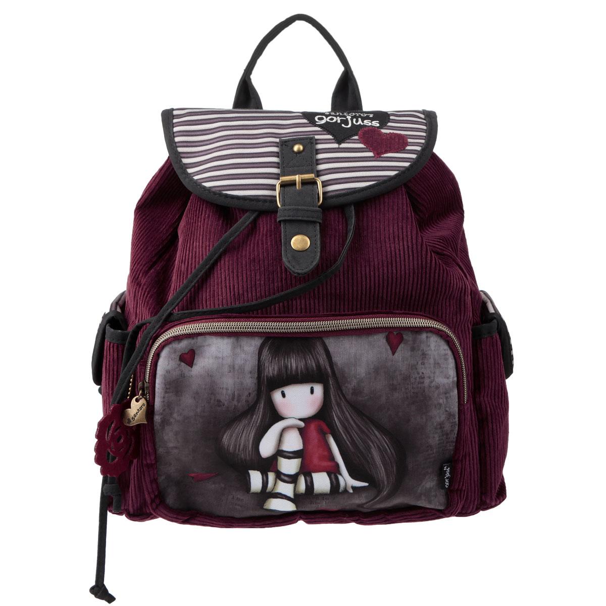 Рюкзак молодежный Santoro Gorjuss, цвет: бордовый, серыйGSBB-UT1-534Стильный рюкзак Santoro Gorjuss для очаровательной модницы с трогательным принтом - это идеальная модель для учебы или отдыха. Легкий и удобный рюкзак станет незаменимым аксессуаром. Вместительное внутреннее отделение закрывается клапаном на кнопке и шнурком, в него поместятся все необходимые школьные принадлежности. Дополнительный фронтальный карман закрывается на молнию с металлическим замком в форме сердечка и предназначен для средних и мелких предметов, боковые кармашки закрываются на кнопки. Внутреннее отделение содержит дополнительный карман на молнии и два небольших открытых кармана. Лямки рюкзака свободно регулируются по длине, обеспечивая удобство и комфорт, ручка сверху позволяет с легкостью носить его в руках. Лаконичный и сдержанный дизайн подчеркнет индивидуальность и порадует своей функциональностью.
