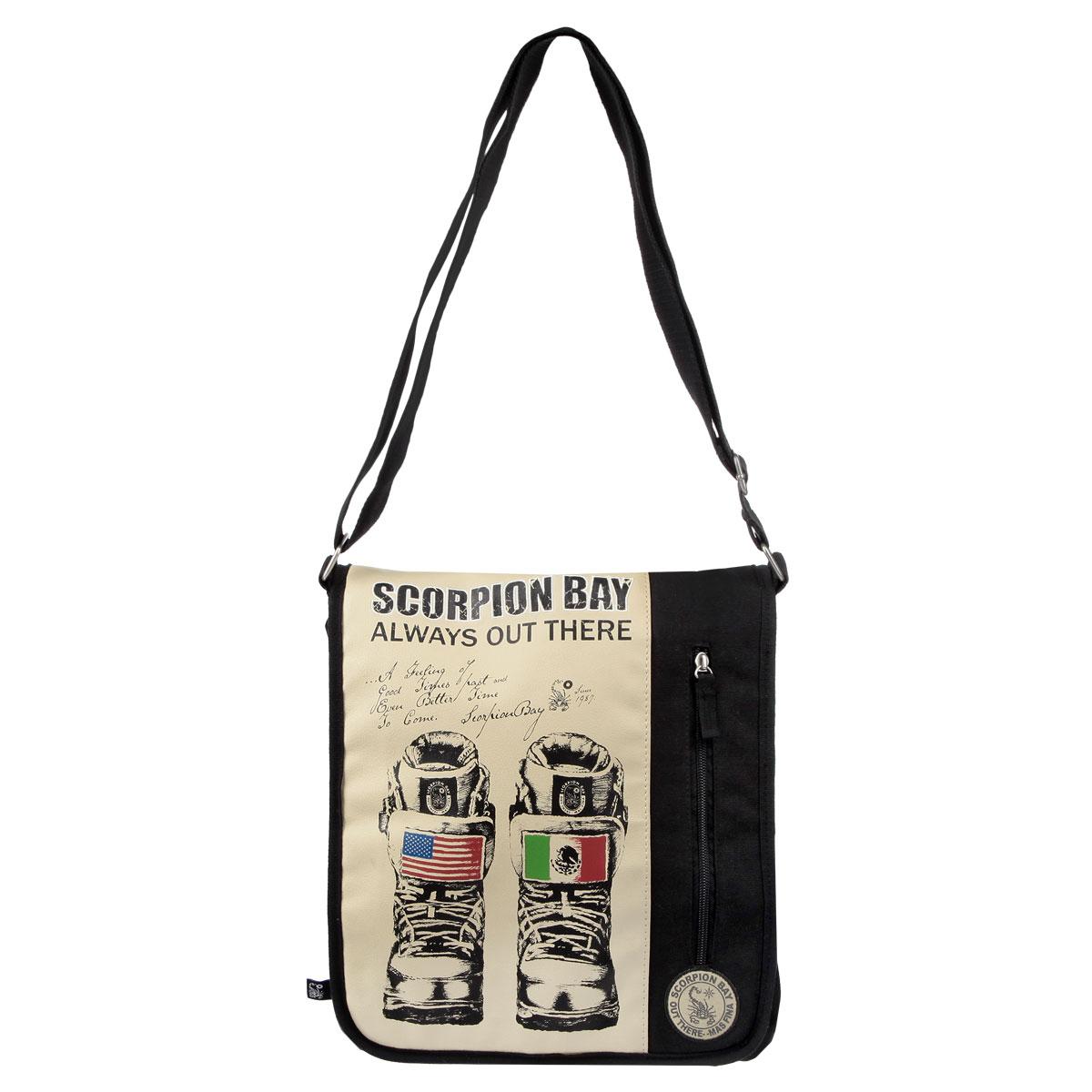 Сумка молодежная Scorpion Bay, цвет: черный, бежевыйSBAB-RT1-1342Оригинальная молодежная сумка Scorpion Bay прекрасно подойдет для учебы, занятий спортом и повседневных дел. Стильная, легкая и удобная сумка с броской нашивкой станет незаменимым аксессуаром. Вместительное внутреннее отделение закрывается на клапан на липучке, в него поместятся все необходимые школьные принадлежности или спортивная форма. На задней стороне большой открытый карман. Внутреннее отделение содержит дополнительный карман на молнии и два небольших открытых кармана. Плотная и широкая лямка свободно регулируется по длине, что позволяет носить сумку школьникам разного возраста. Лаконичный и сдержанный дизайн подчеркнет индивидуальность и порадует своей функциональностью.