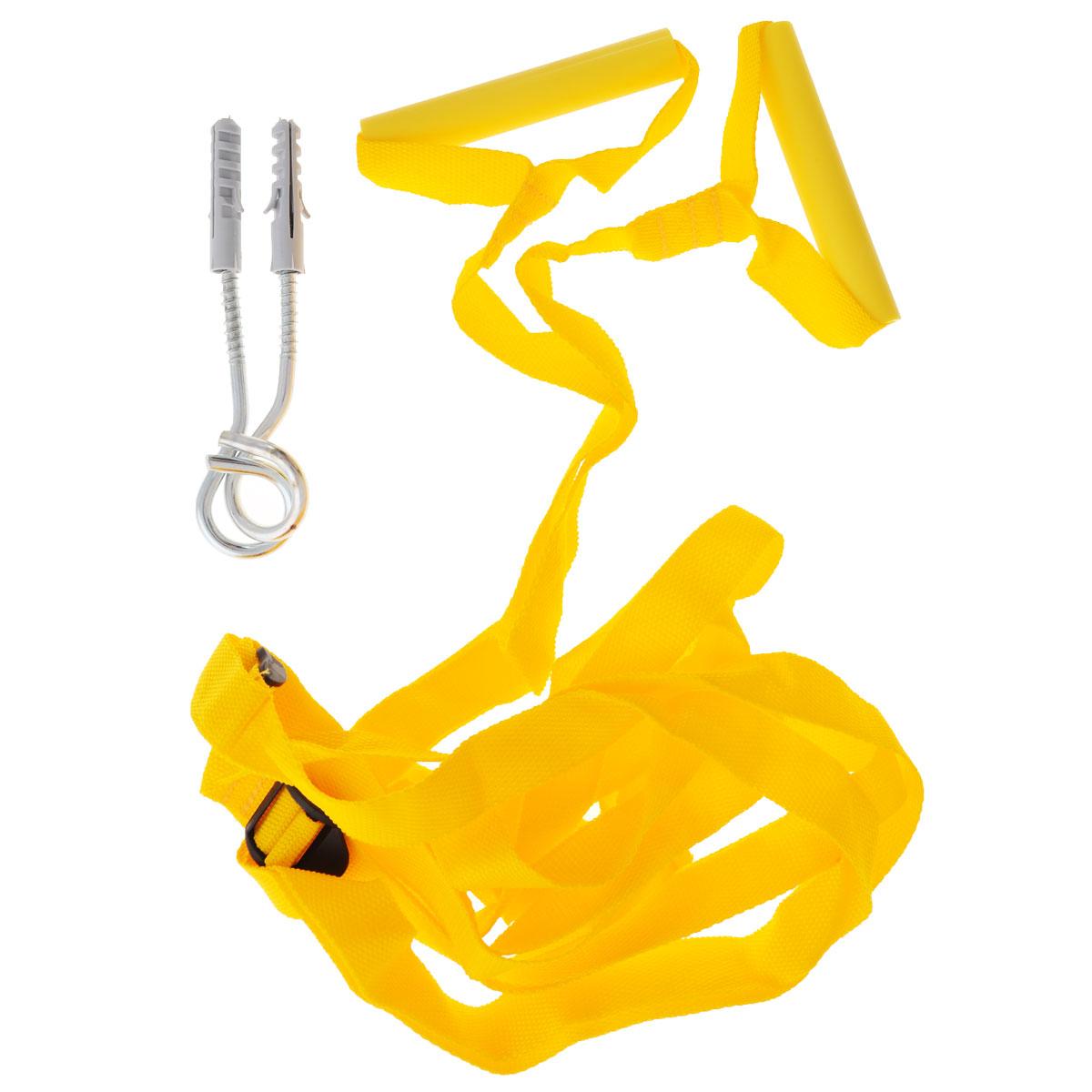 Игрушка-тренажер Кольца-тарзанка, цвет: желтыйип.0010Игрушка-тренажер Спортбэби Кольца-тарзанка позволит вашему ребенку получить массу положительных эмоций! Это прекрасный спортивный тренажер для вашего малыша, который крепится в дверном проеме. Ребенок сможет на кольцах раскачиваться или подтягиваться, развивая мышцы плечевого пояса, тренируя силу и ловкость.