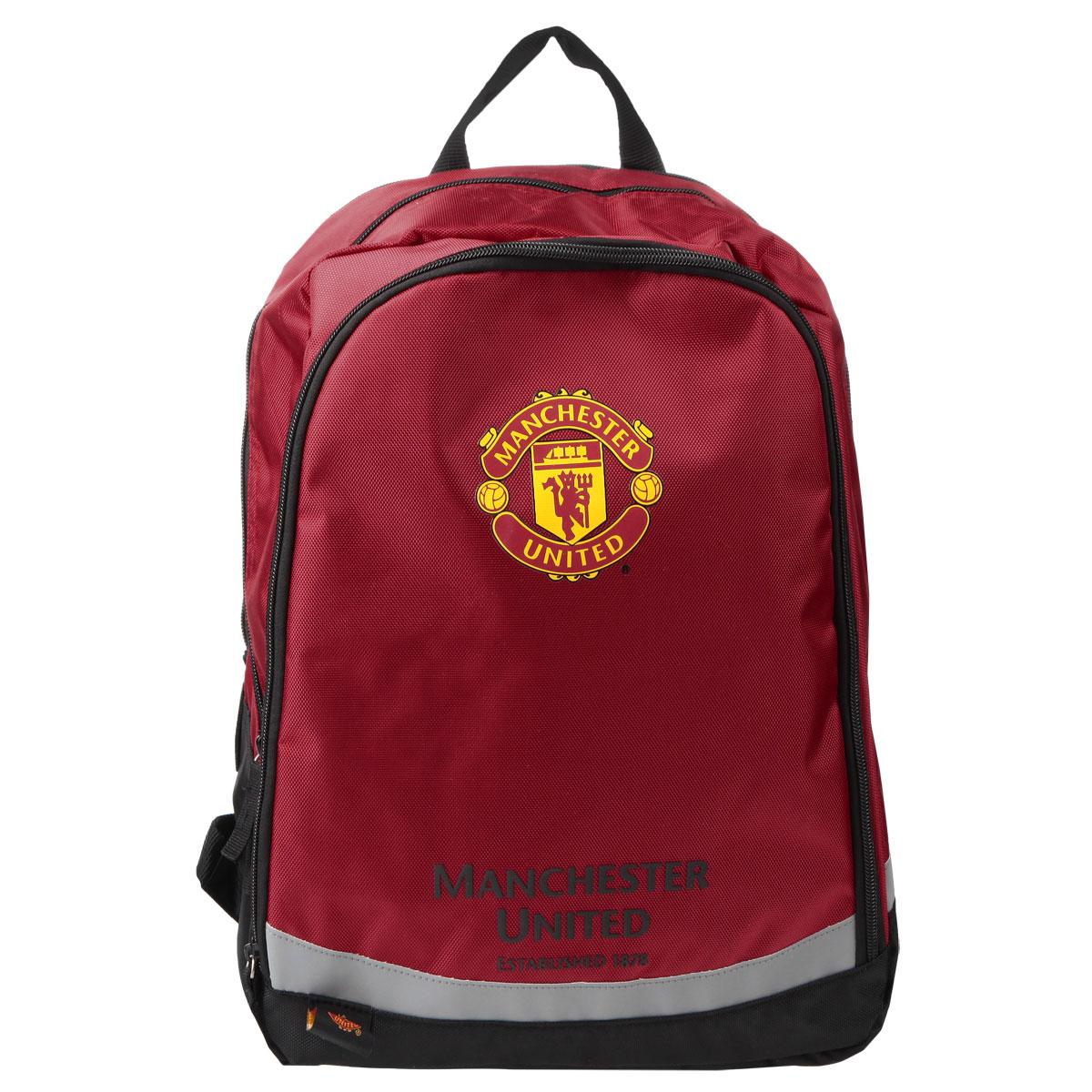 Рюкзак детский FC Manchester United, цвет: красныйMTBB-UT1-7042Рюкзак FC Manchester United - это идеальная модель для учебы, занятий спортом или отдыха. Два вместительных отделения на молнии позволят рационально разместить школьные принадлежности или спортивную форму. Дополнительный фронтальный карман закрывается на молнию и предназначен для средних и мелких предметов. Спинка выполнена из поролона со специальной воздухообменной сеткой, обеспечивая максимальный комфорт. Увеличенная ширина лямок позволяет снизить нагрузку на надплечье, а регулируемая длина гарантирует, что рюкзак подойдет для любого роста. Светоотражающие элементы на лямках и корпусе рюкзака обеспечивают безопасность в темное время суток. Лаконичный и сдержанный дизайн рюкзака подчеркнет индивидуальность и порадует юных поклонников легендарного британского клуба своей функциональностью.