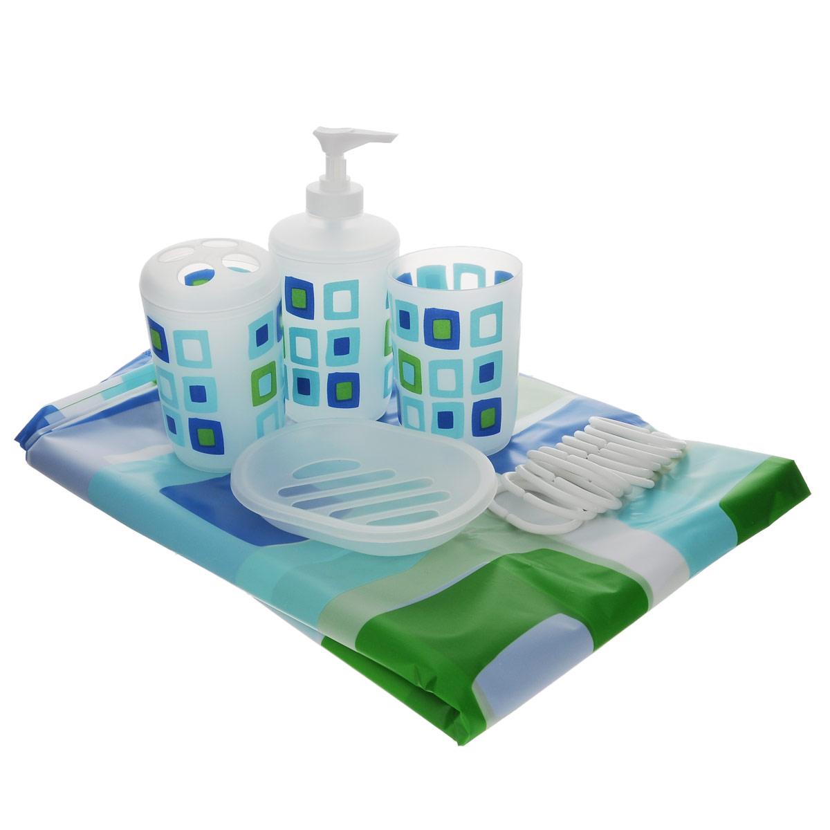 Набор для ванной комнаты House & Holder, 5 предметов. SWYS053SWYS053Набор для ванной комнаты House & Holder состоит из держателя для зубных щеток, стакана, дозатора для жидкого мыла, мыльницы и шторы для ванной с 12 кольцами. Держатель, стакан, дозатор и мыльница изготовлены из высококачественного пластика и декорированы красочным рисунком. Шторка выполнена из водоотталкивающего материала. Набор House & Holder станет отличным подарком на праздник и прекрасно дополнит интерьер ванной комнаты. Размер стакана: 7 см х 7 см х 9,5 см. Размер держателя для зубных щеток: 7 см х 7 см х 10,5 см. Размер дозатора: 7 см х 7 см х 16 см. Размер мыльницы: 13,5 см х 9,5 см х 2 см. Размер шторы: 180 см х 180 см.